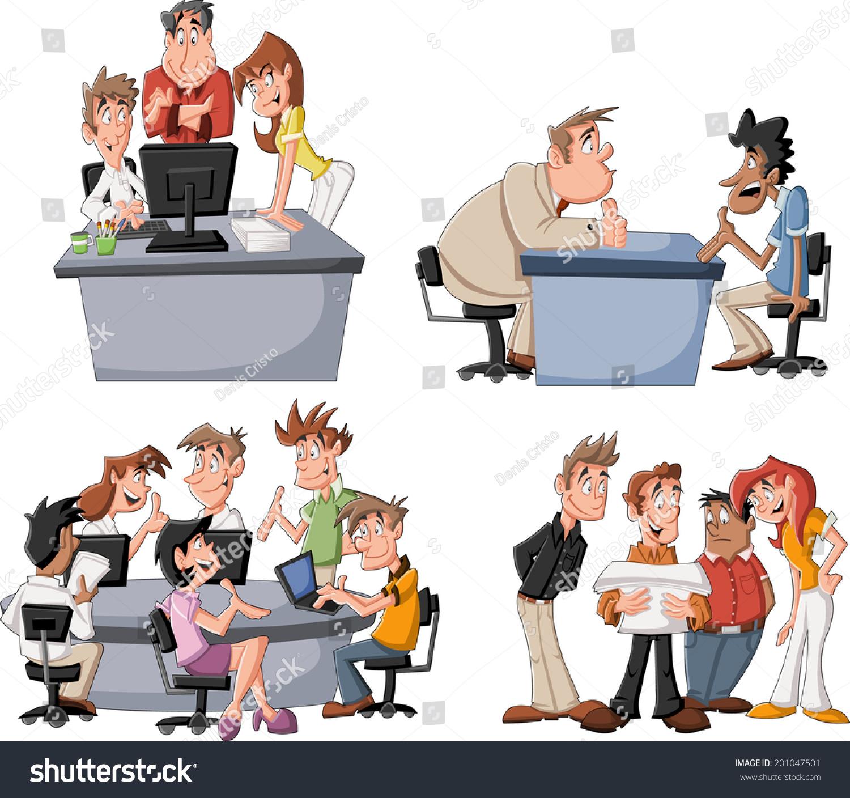 happy cartoon business people working on stock vector