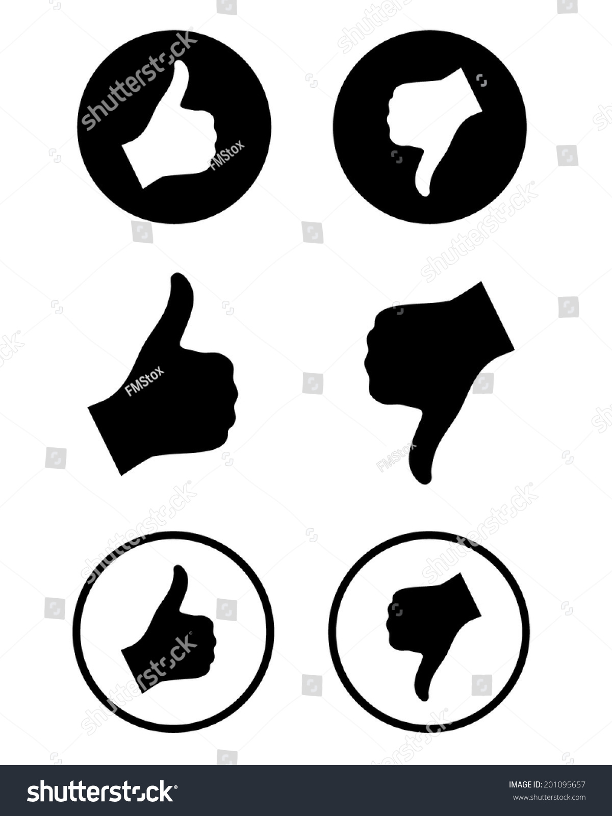 foto de Vector 'Thumbs Up' And 'Thumbs Down' Icon Set 201095657
