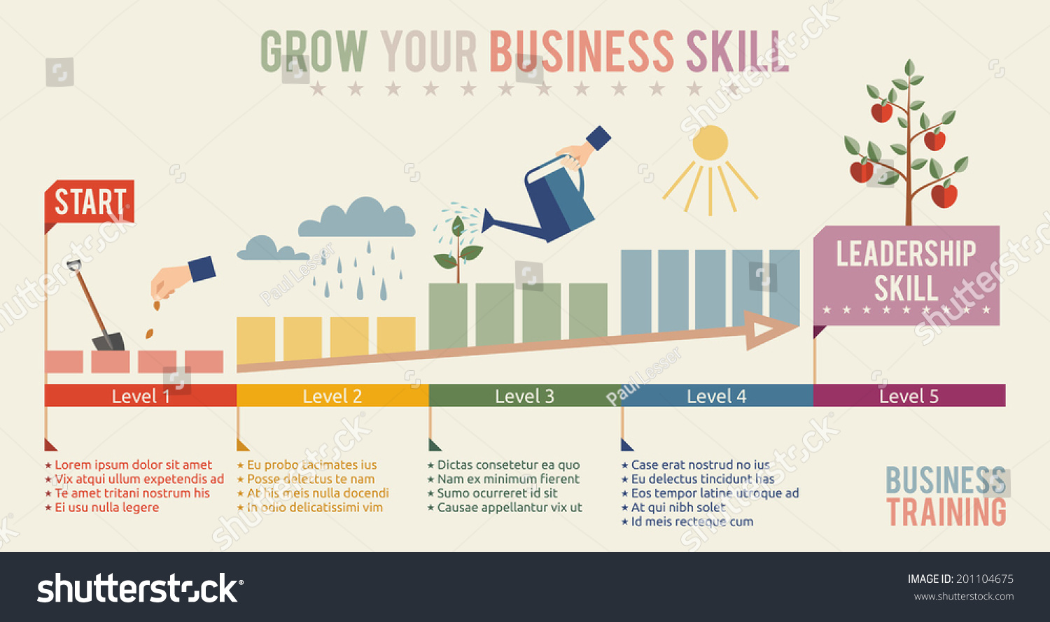 Growth Business Skill Infographics Flat Design Stock