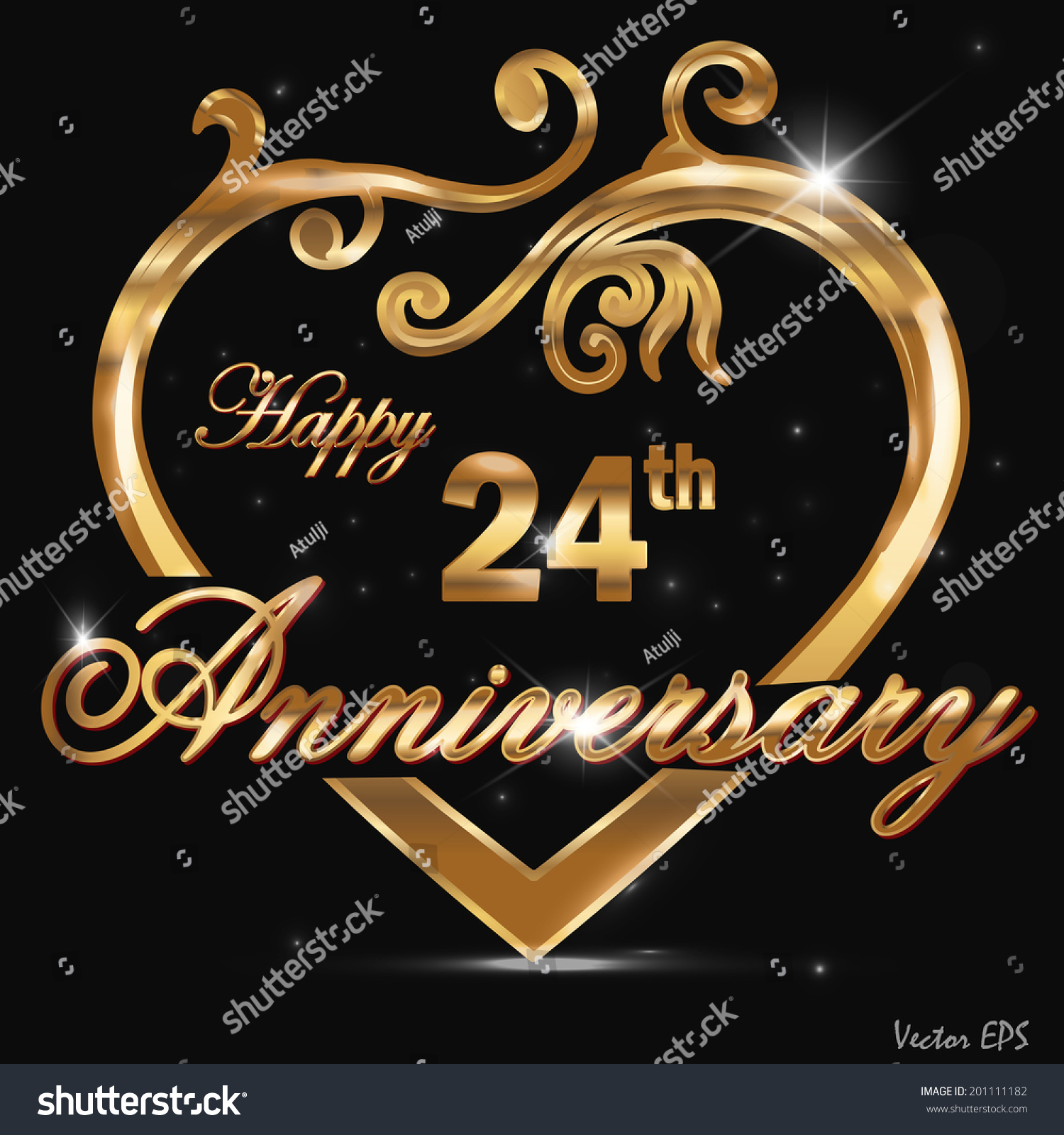 24 Year Anniversary Golden Label 24th Stock Vector