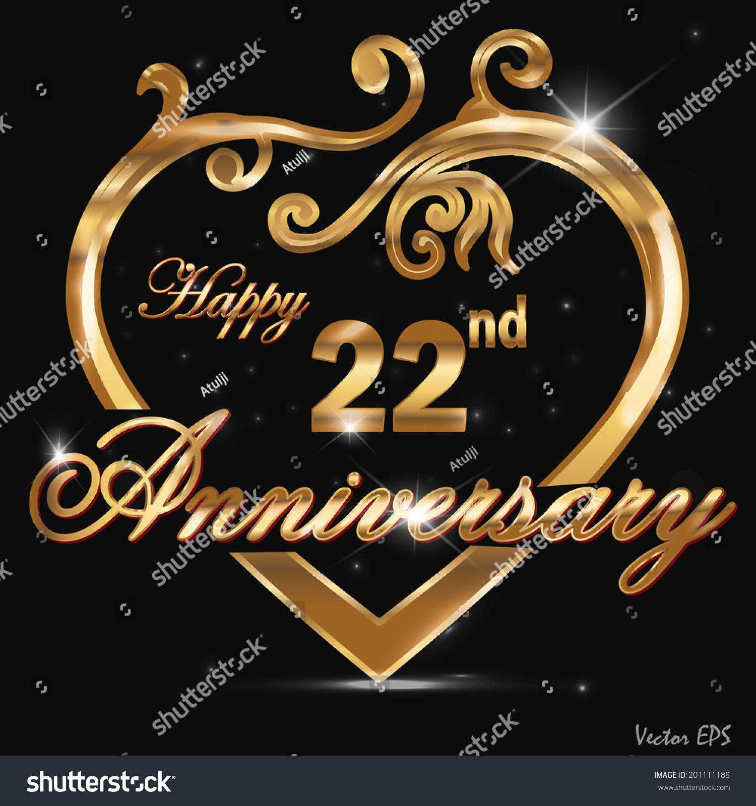 22 year anniversary golden label, 22nd anniversary decorative golden ...