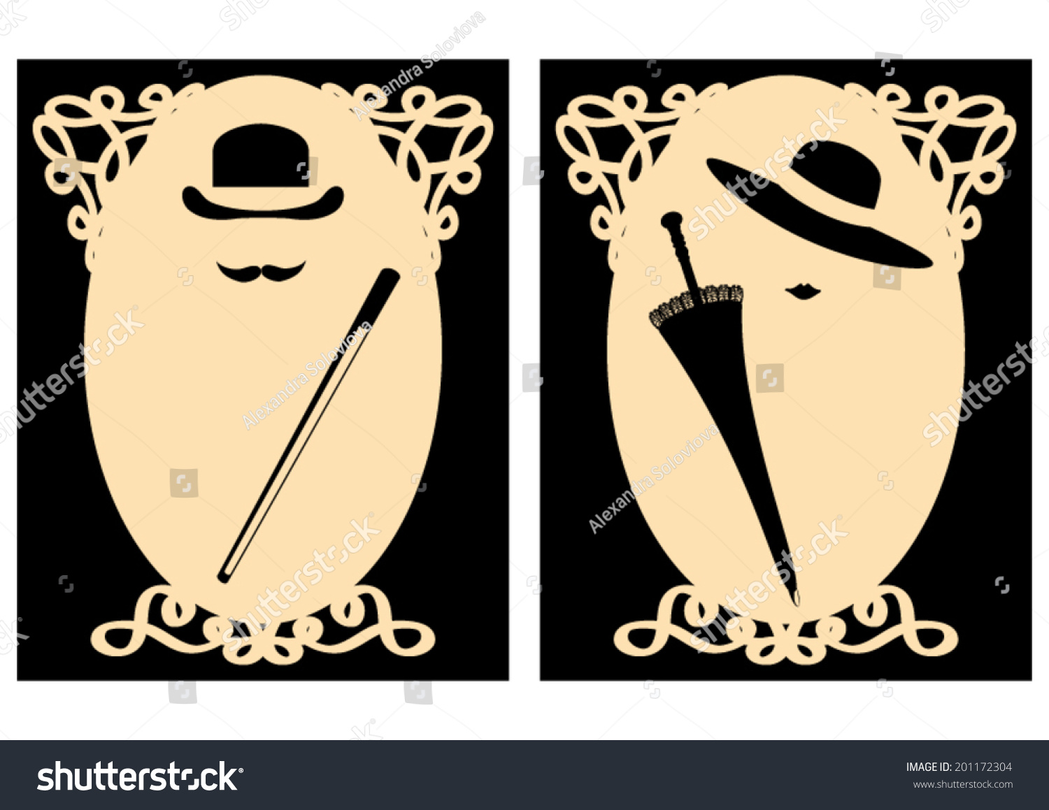 vector lady gentleman signs for wc stock vector 201172304. Black Bedroom Furniture Sets. Home Design Ideas