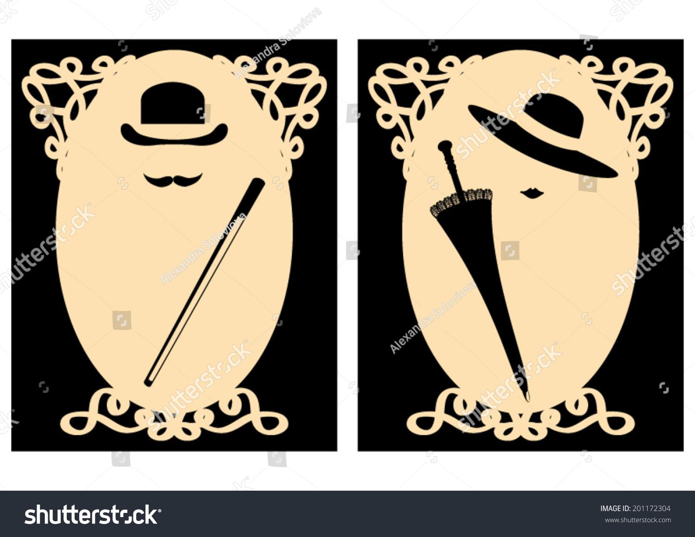 vector lady gentleman signs for wc stock vektor 201172304 shutterstock. Black Bedroom Furniture Sets. Home Design Ideas