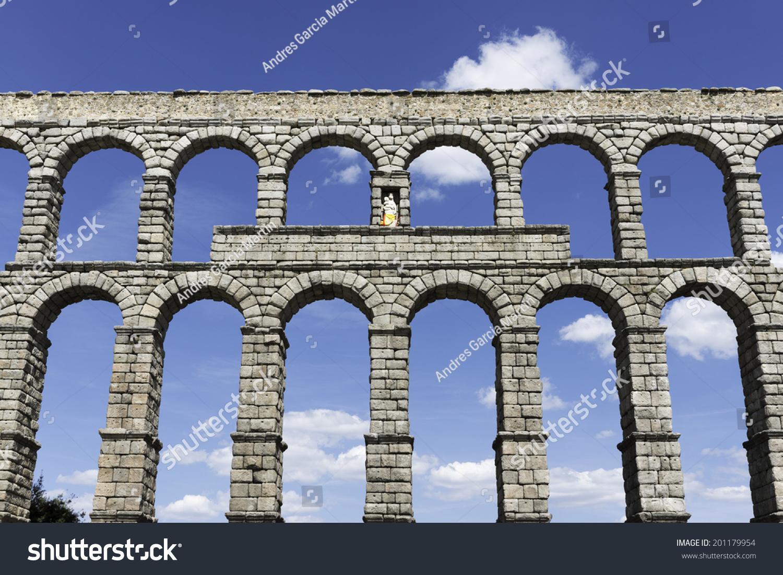 front view famous aqueduct bridge segovia stock photo 201179954