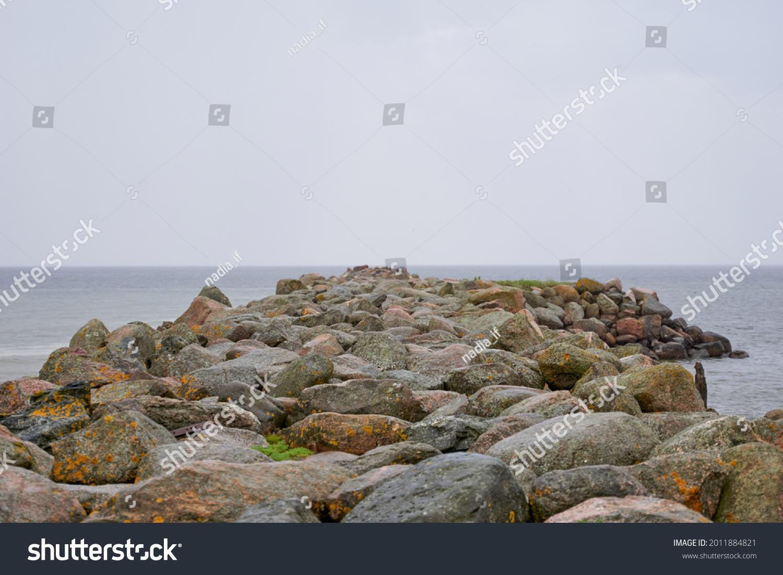 Rocky coastal landscape scene at shore of ocean. High quality photo #2011884821