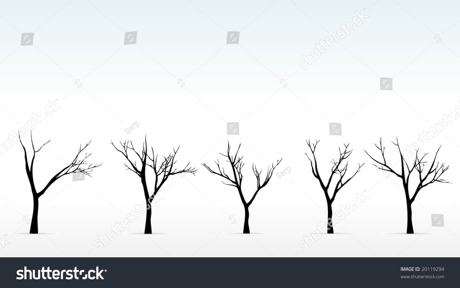 winter trees on background foggy outlines stock vector 20119294