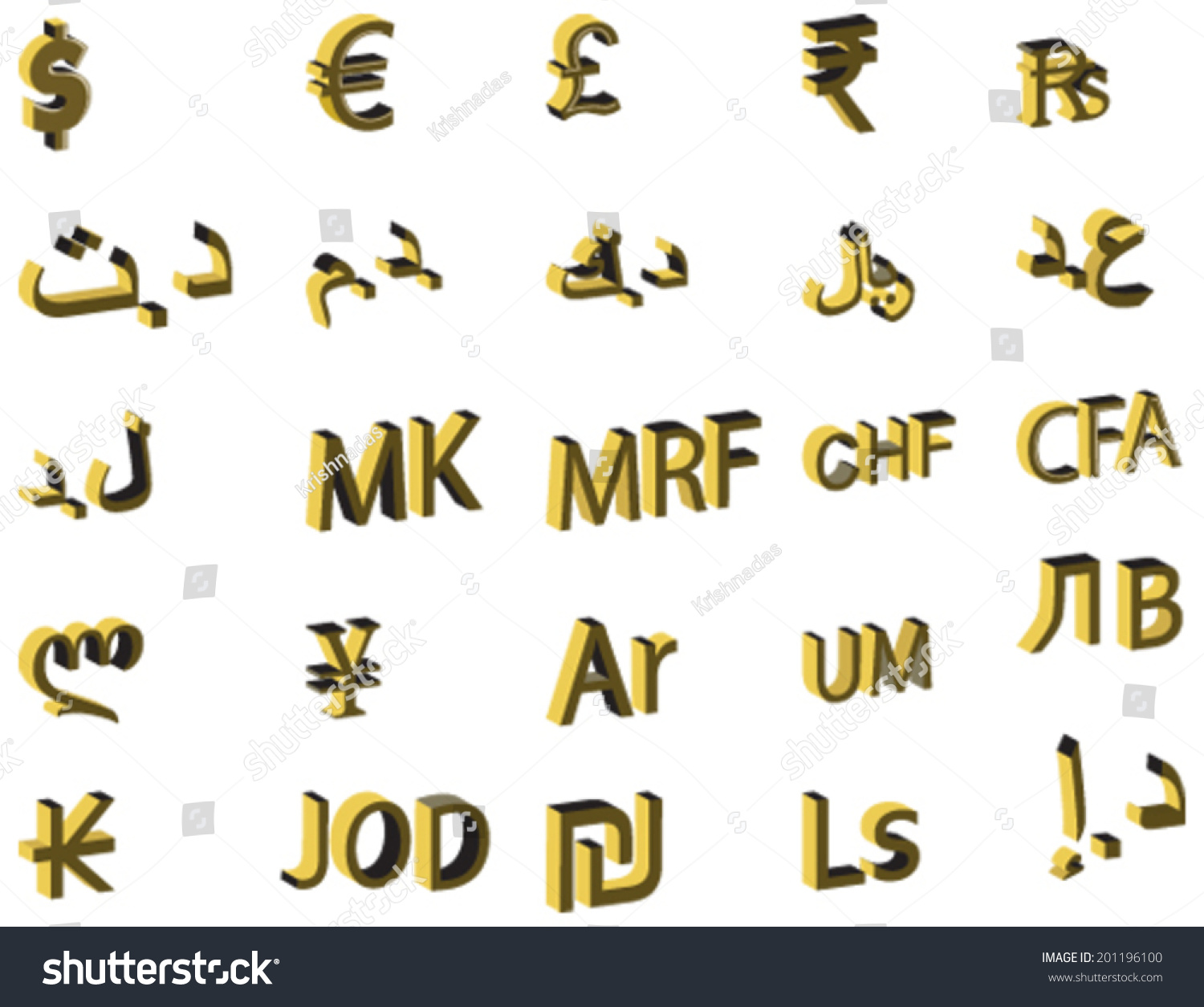 3d Vector Design Concept Currency Symbols Stock Vector 201196100