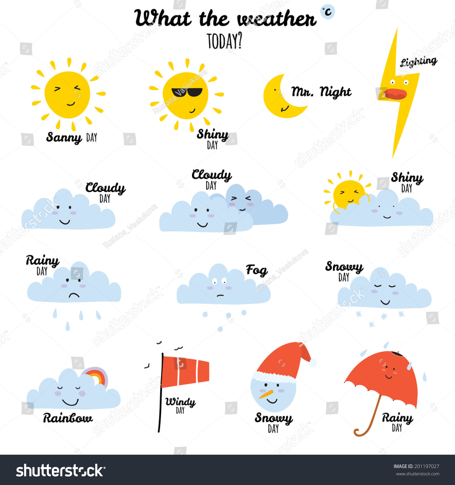 collection unusual cartoon funny smiley weather stock vector
