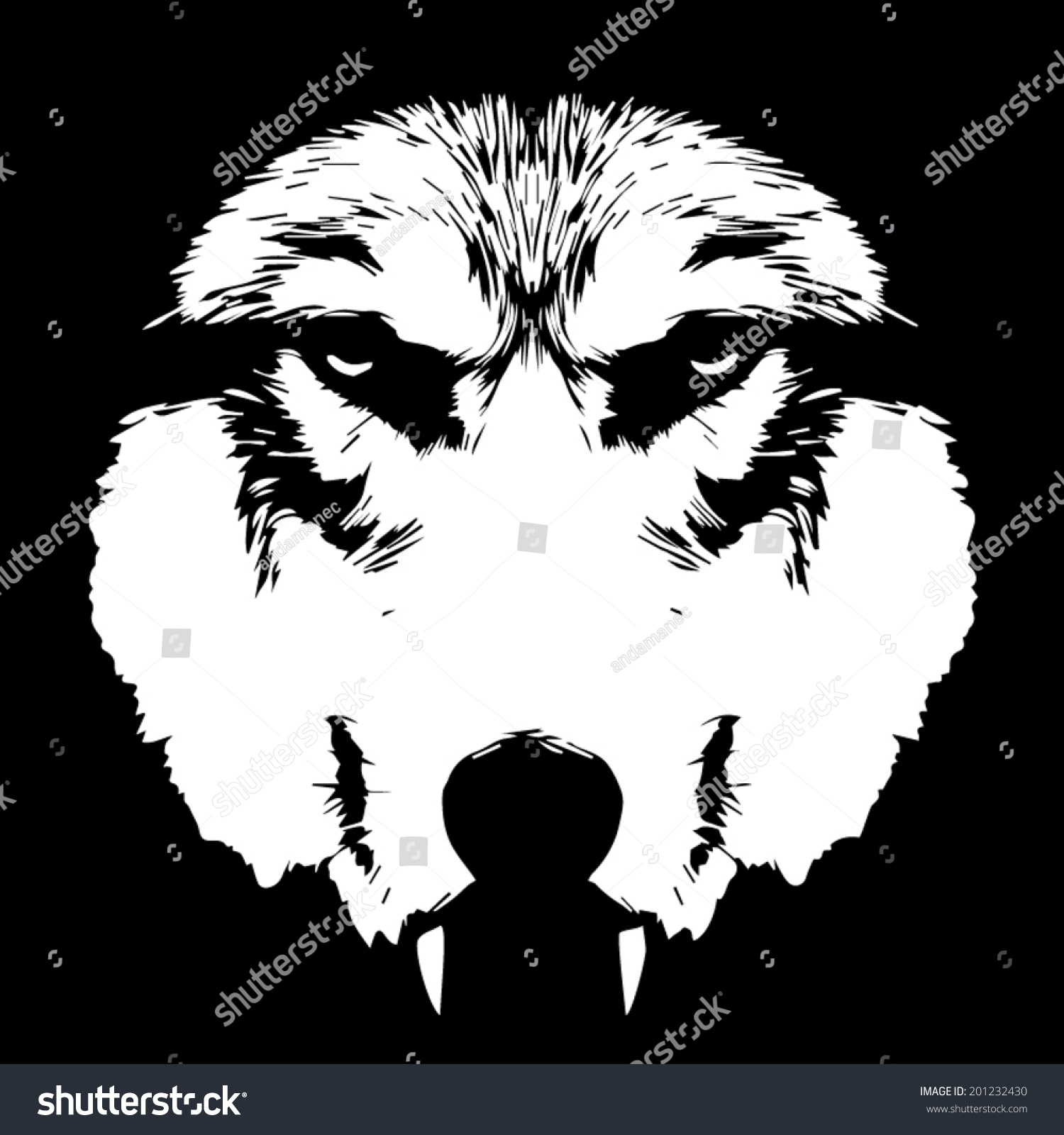 Eye Contact With A Terrible Wolf With Bare Fangs. Menacing