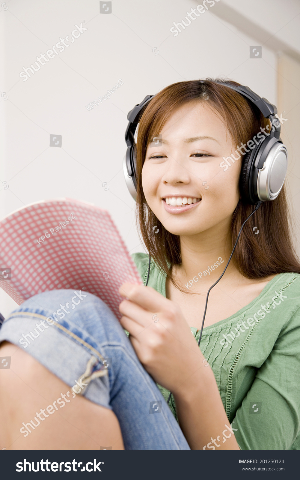 Woman Listening Music On Headphones Stock Photo 201250124 ...
