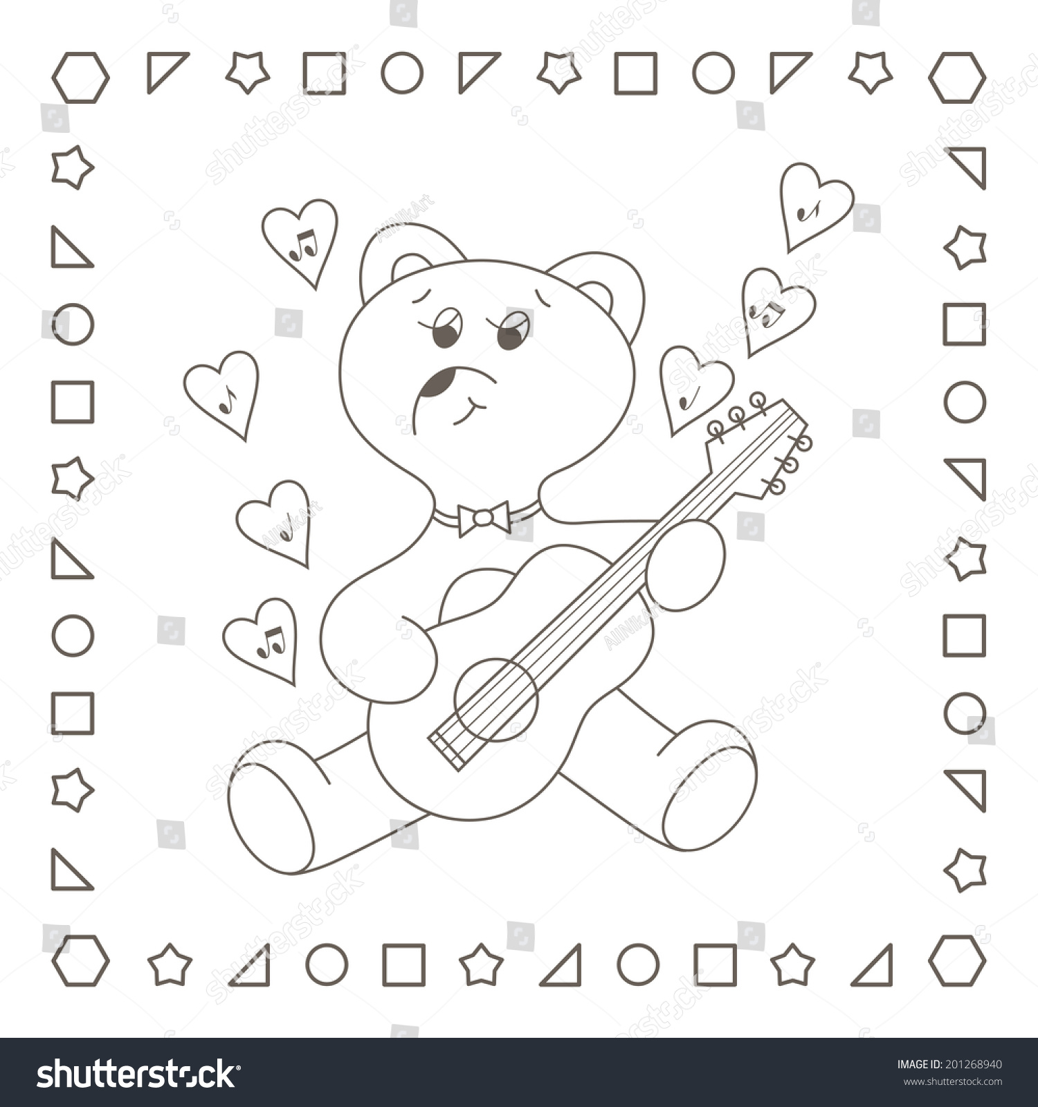 bear hearts cute teddy bear playing stock illustration 201268940