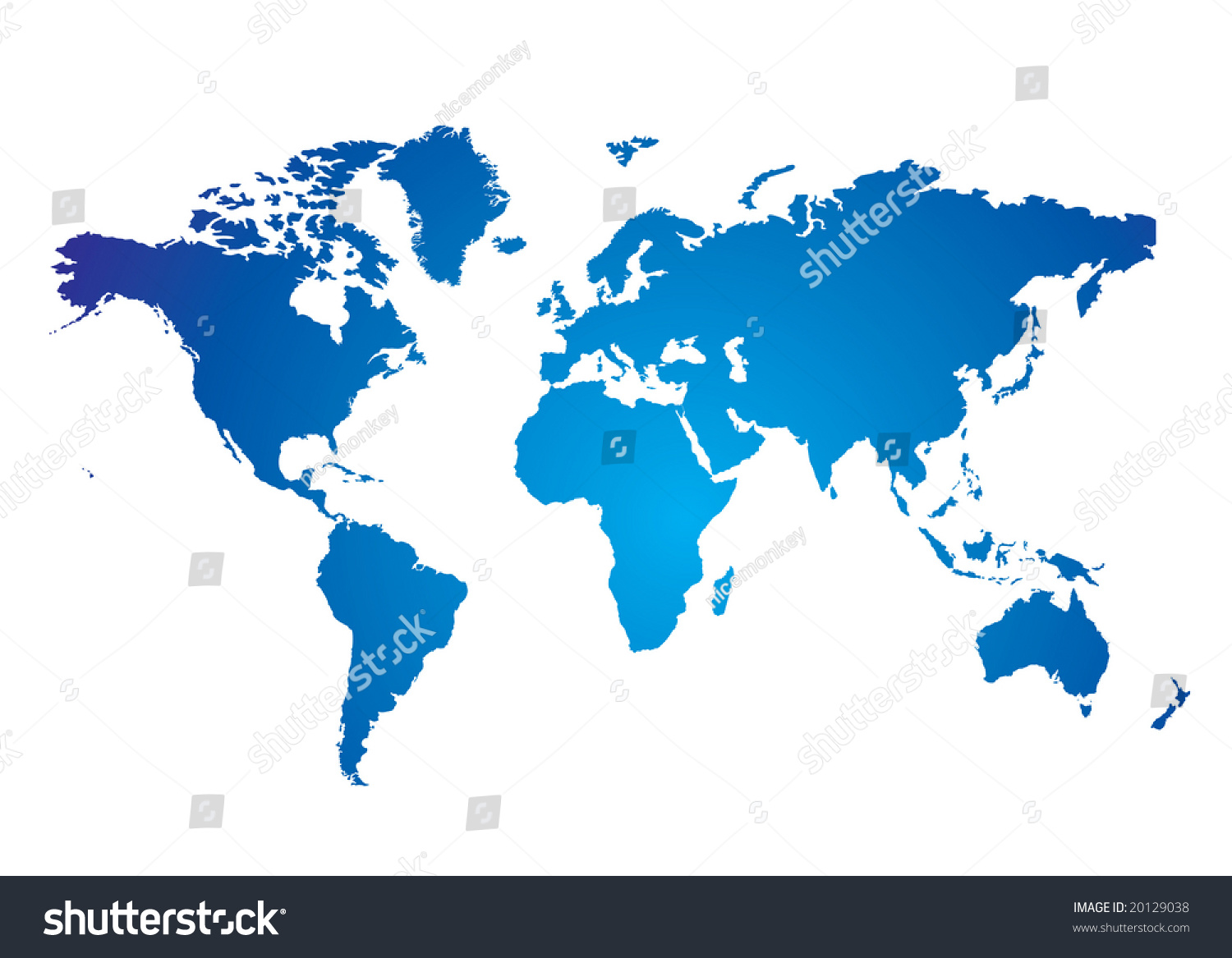 Blue And White Illustrated World Map With White Background ...