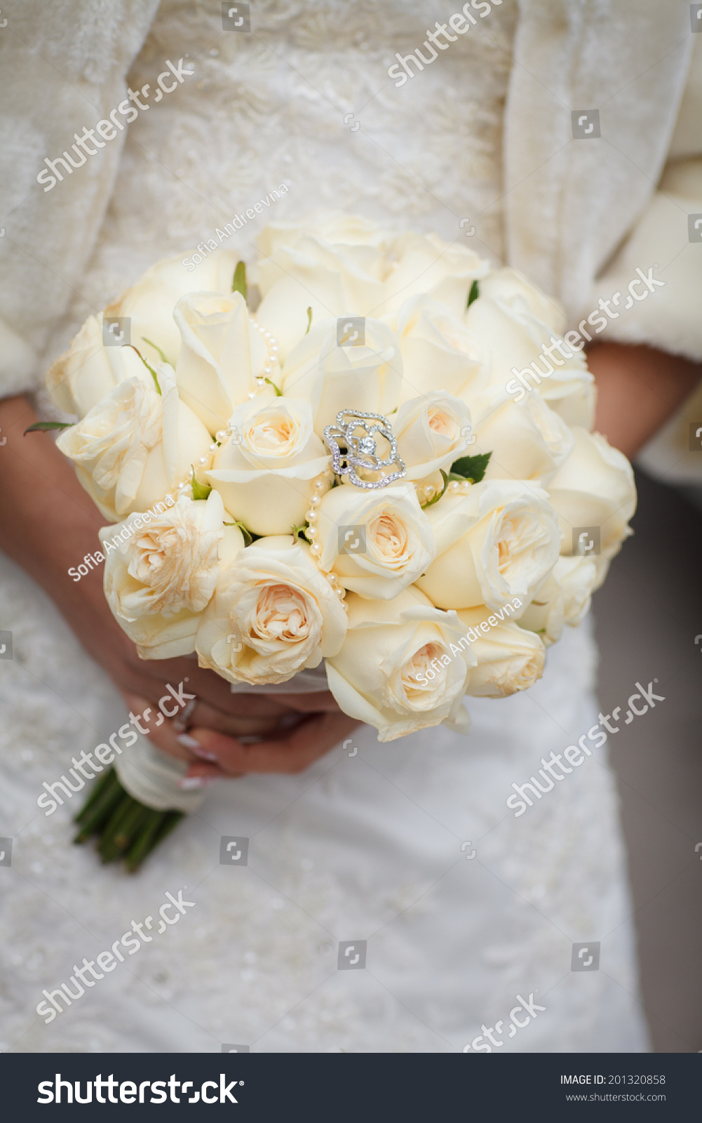 Wedding Flowers Bouquet White Roses Bride Stock Photo Royalty Free