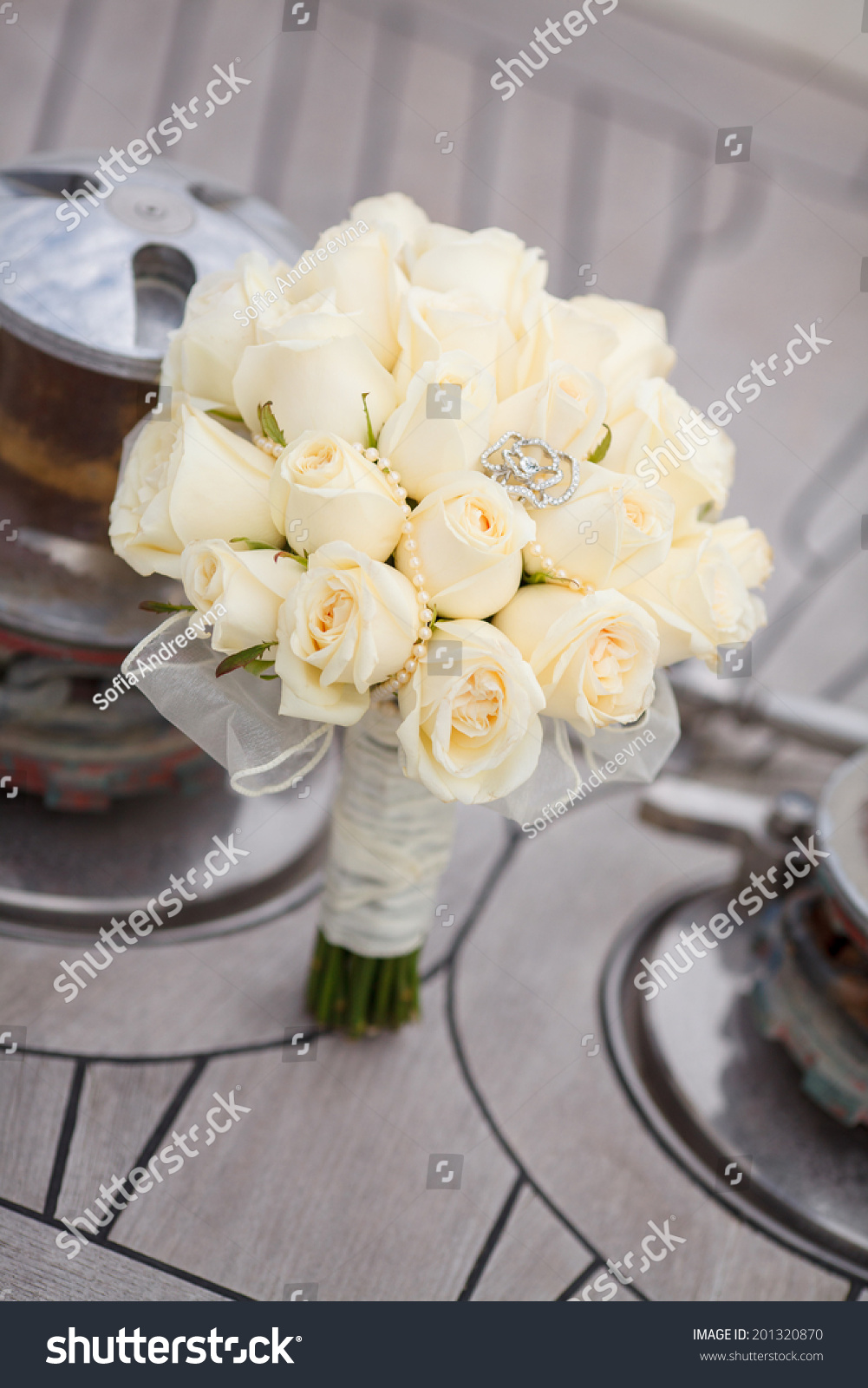 Wedding Flowers Bouquet White Roses Bride Stock Photo Edit Now