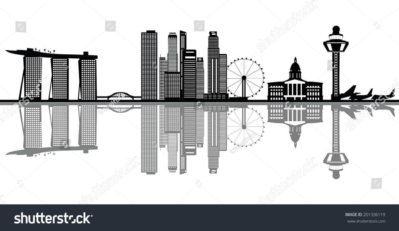 Singapore asian city skyline marina bay stock vector 201336119 shutterstock - Singapur skyline pool ...