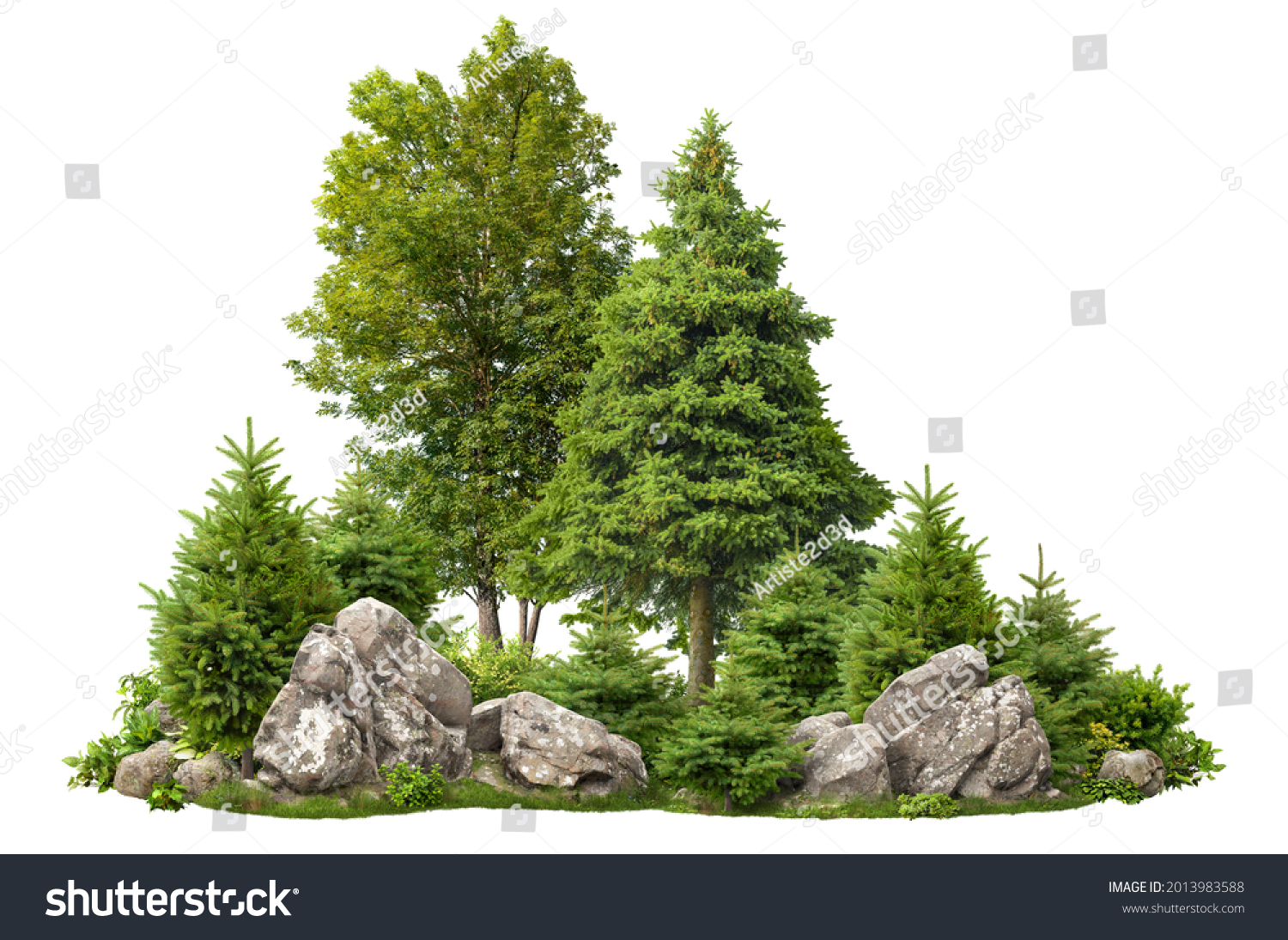 Cutout rock surrounded by fir trees. Garden design isolated on white background. Decorative shrub for landscaping. High quality clipping mask for professionnal composition. Stones in the forest. #2013983588