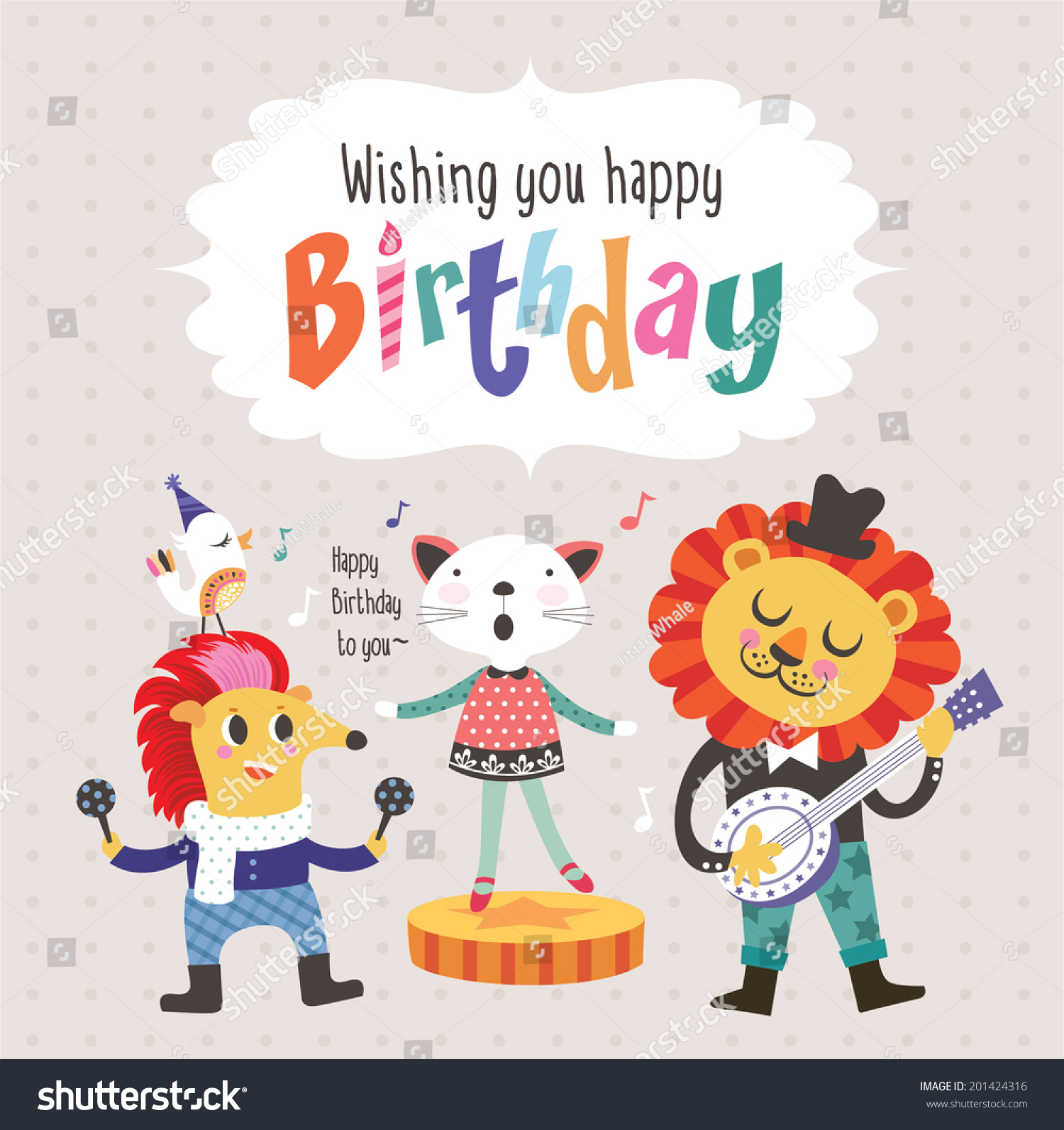 Birthday Greeting Card Cute Cartoon Animals Stock Vector