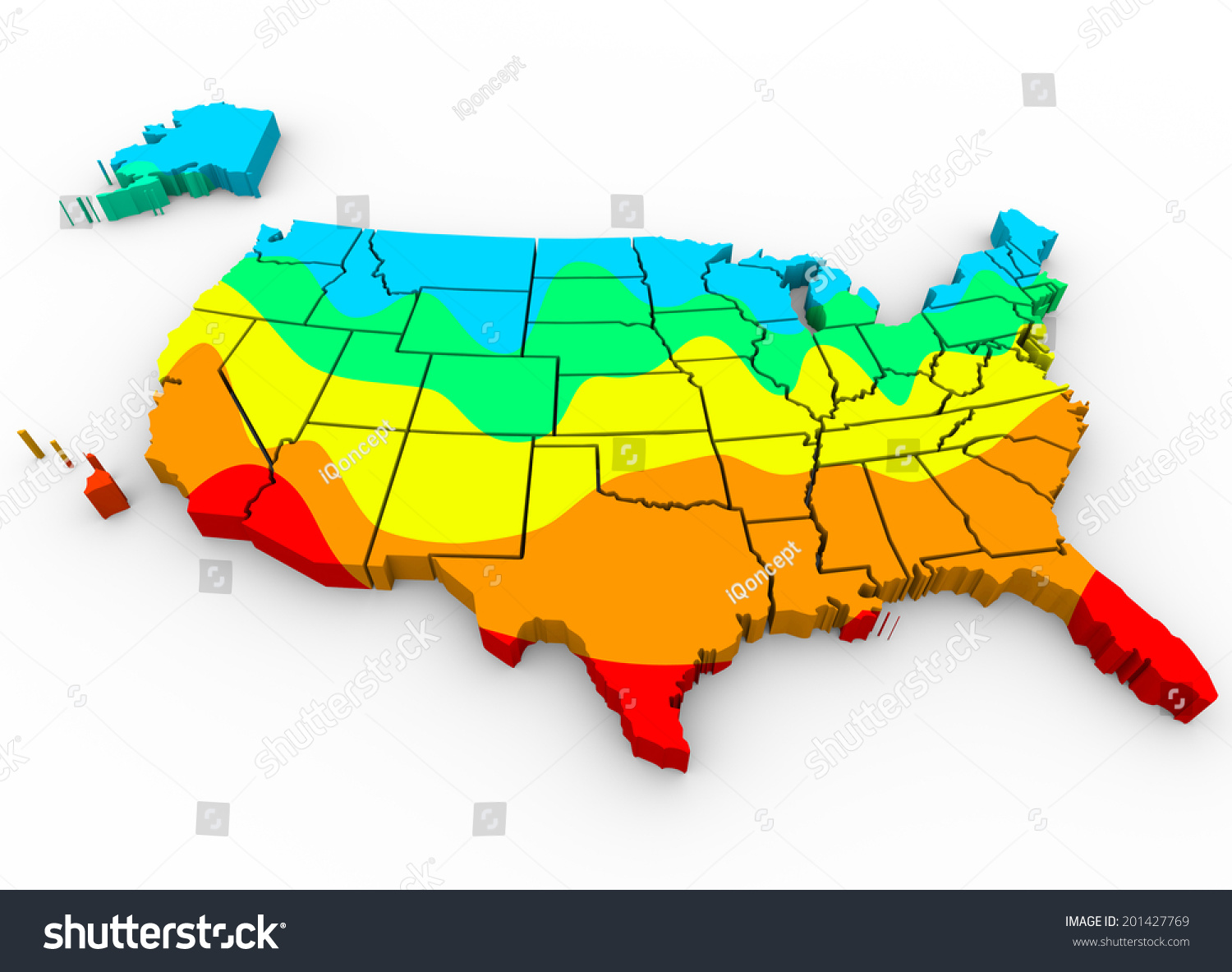 Map United States America Regions Color Stockillustration ...