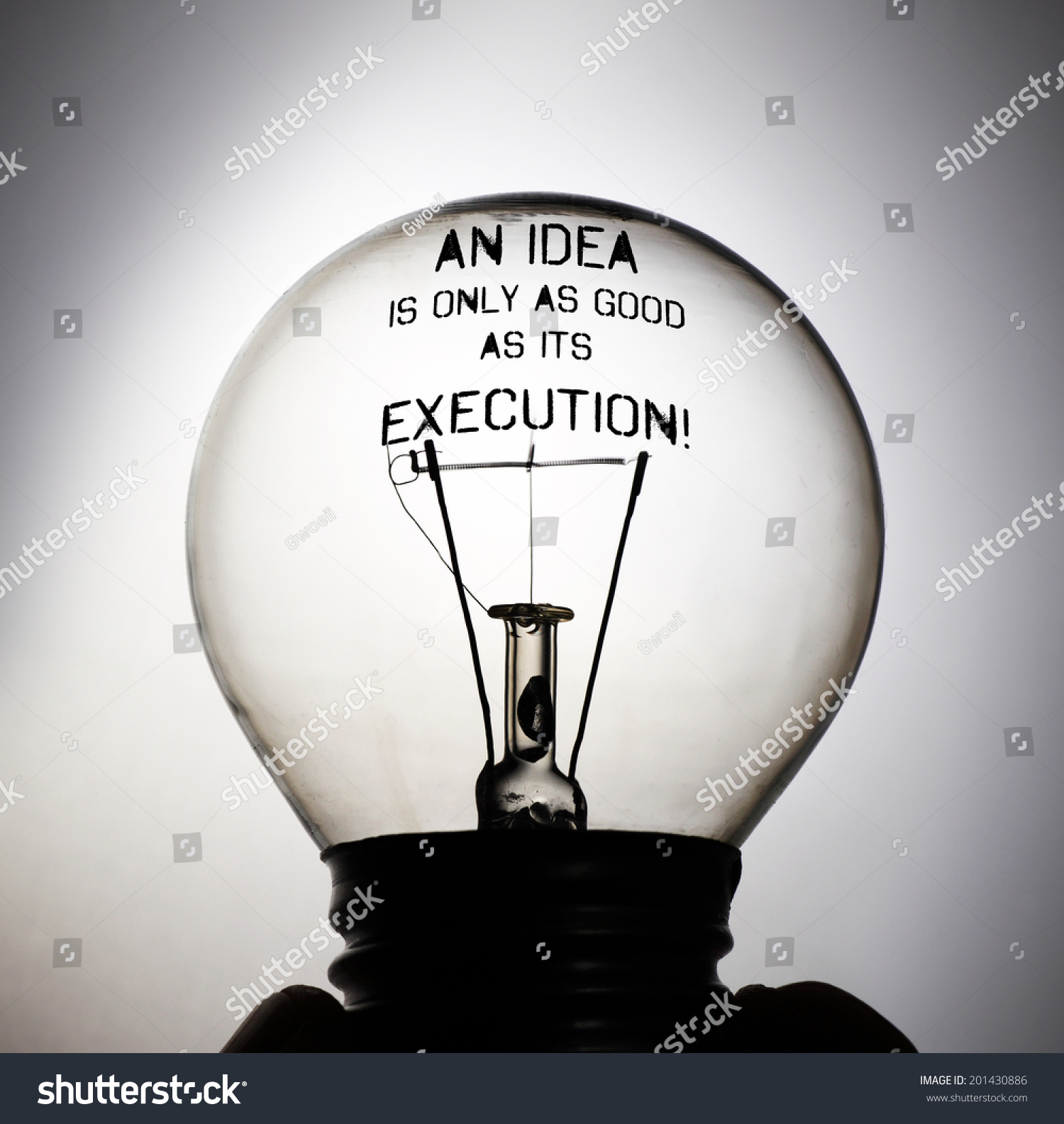 Silhouette Of An Incandescent Light Bulb With The Message ...