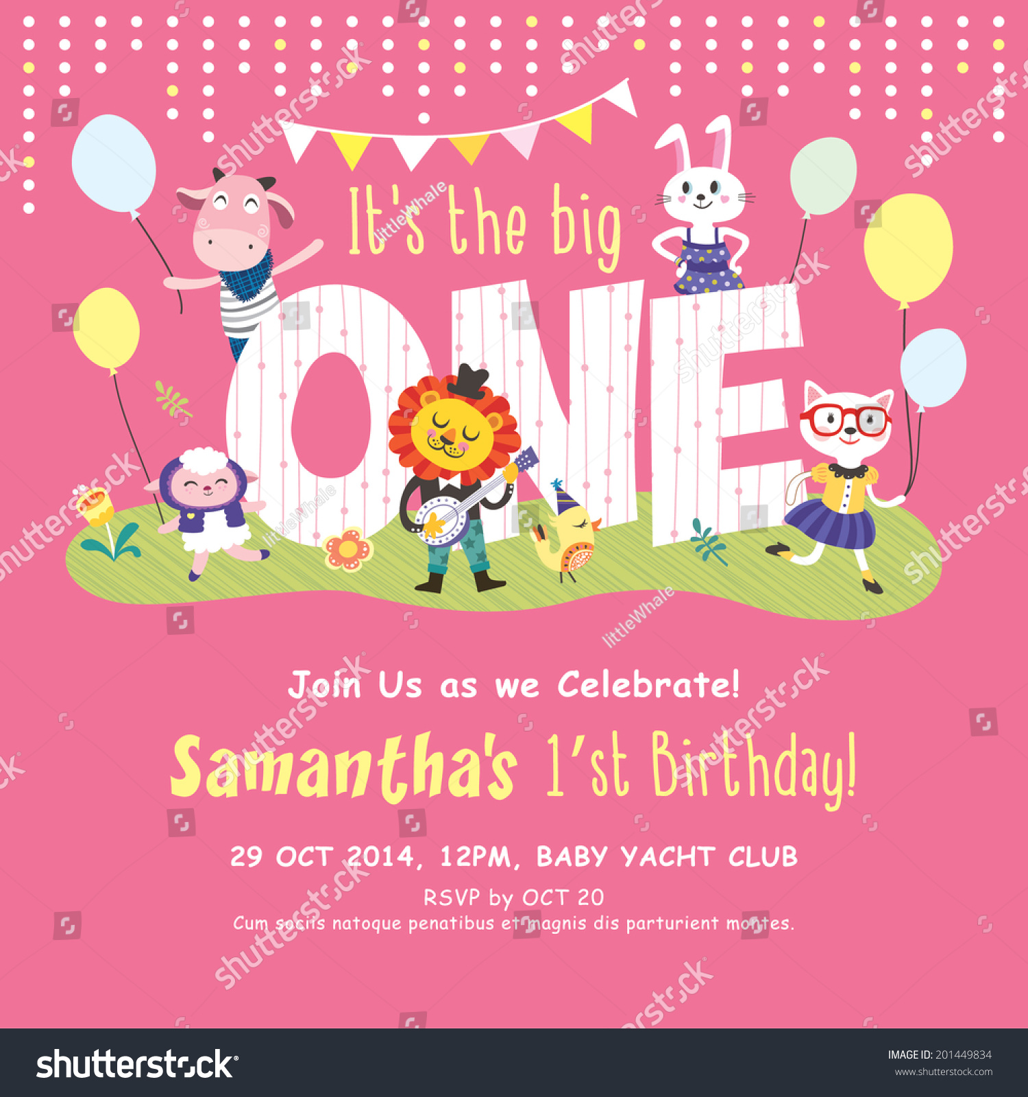 1st Birthday Party Invitation Card Stock Vector