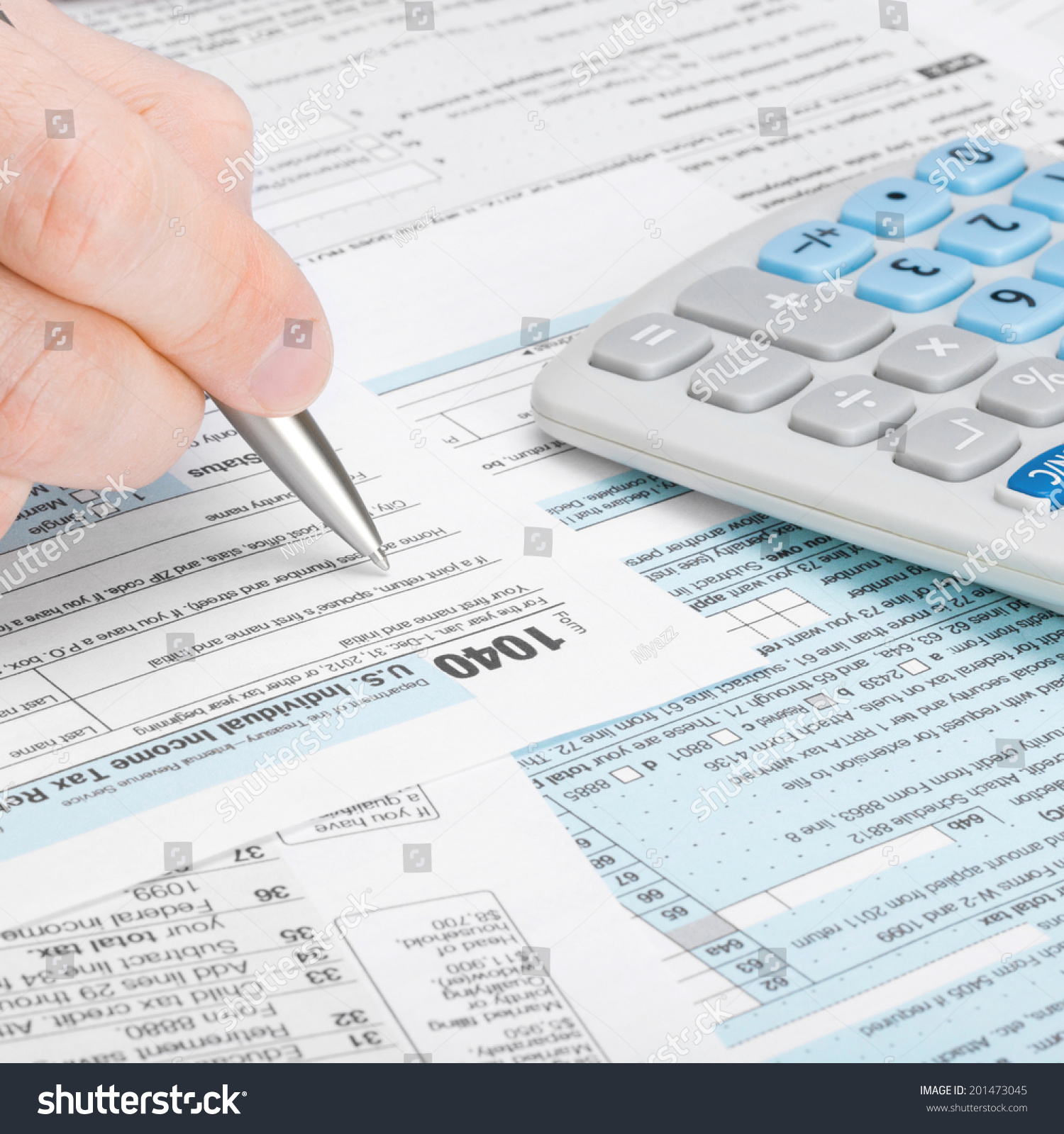 Tax Form 1040 Man Filling Out Stock Photo Royalty Free 201473045
