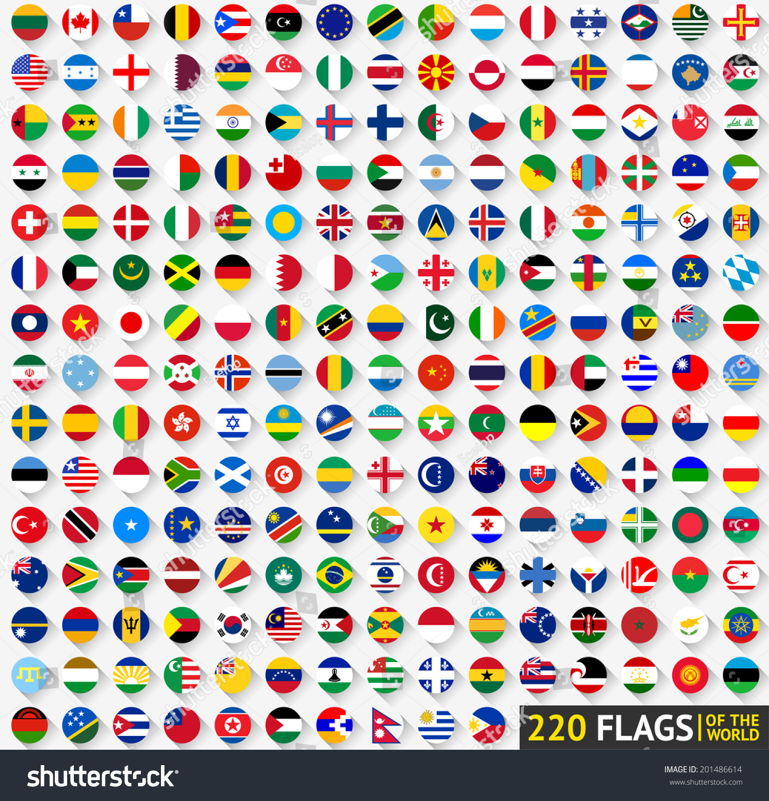 220 Flags of the world, circular shape, flat vector illustration #201486614
