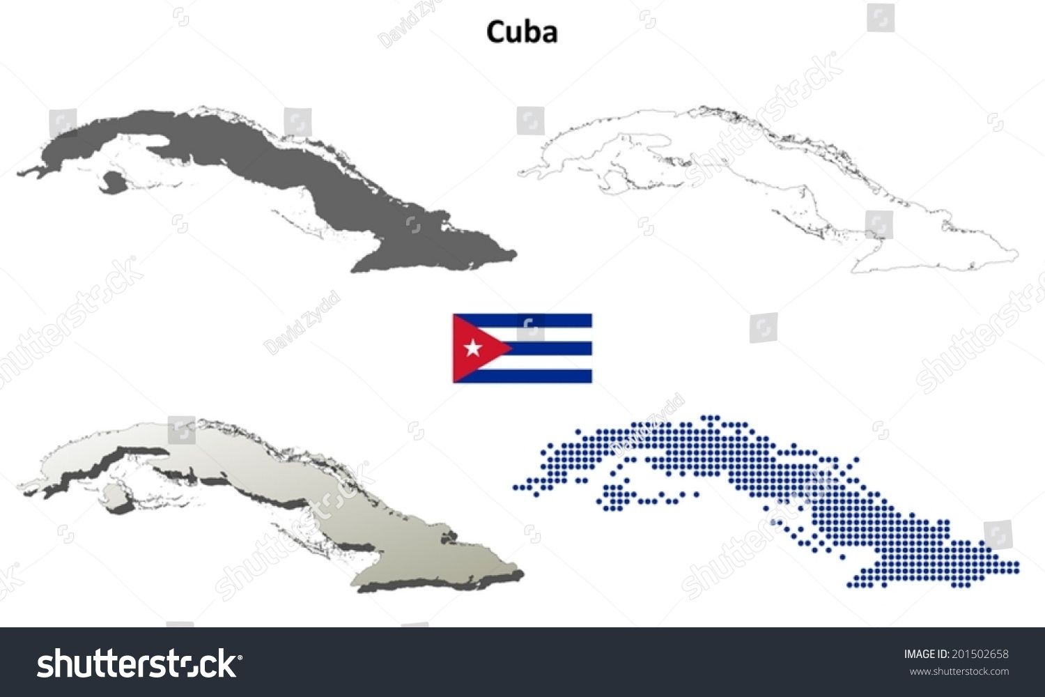 Cuba Blank Detailed Outline Map Set Stock Vector Royalty Free