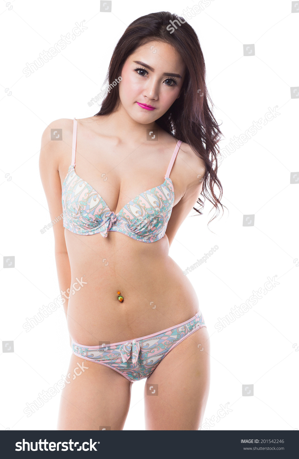 Beautiful sexy asian woman in lingerie on white background