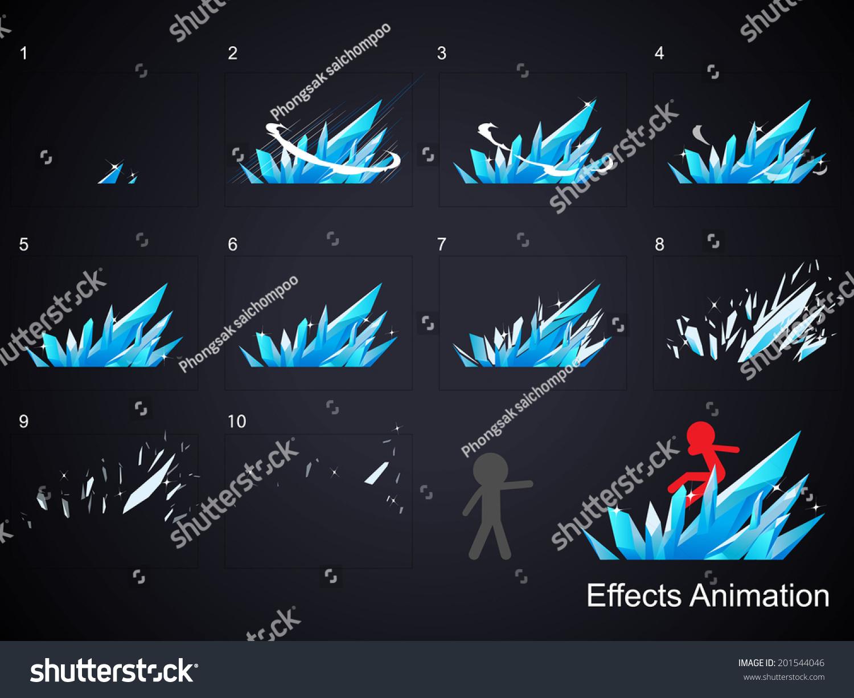 Game Design | Ice Effect Animation Use Game Design Stock Vektorgrafik Lizenzfrei