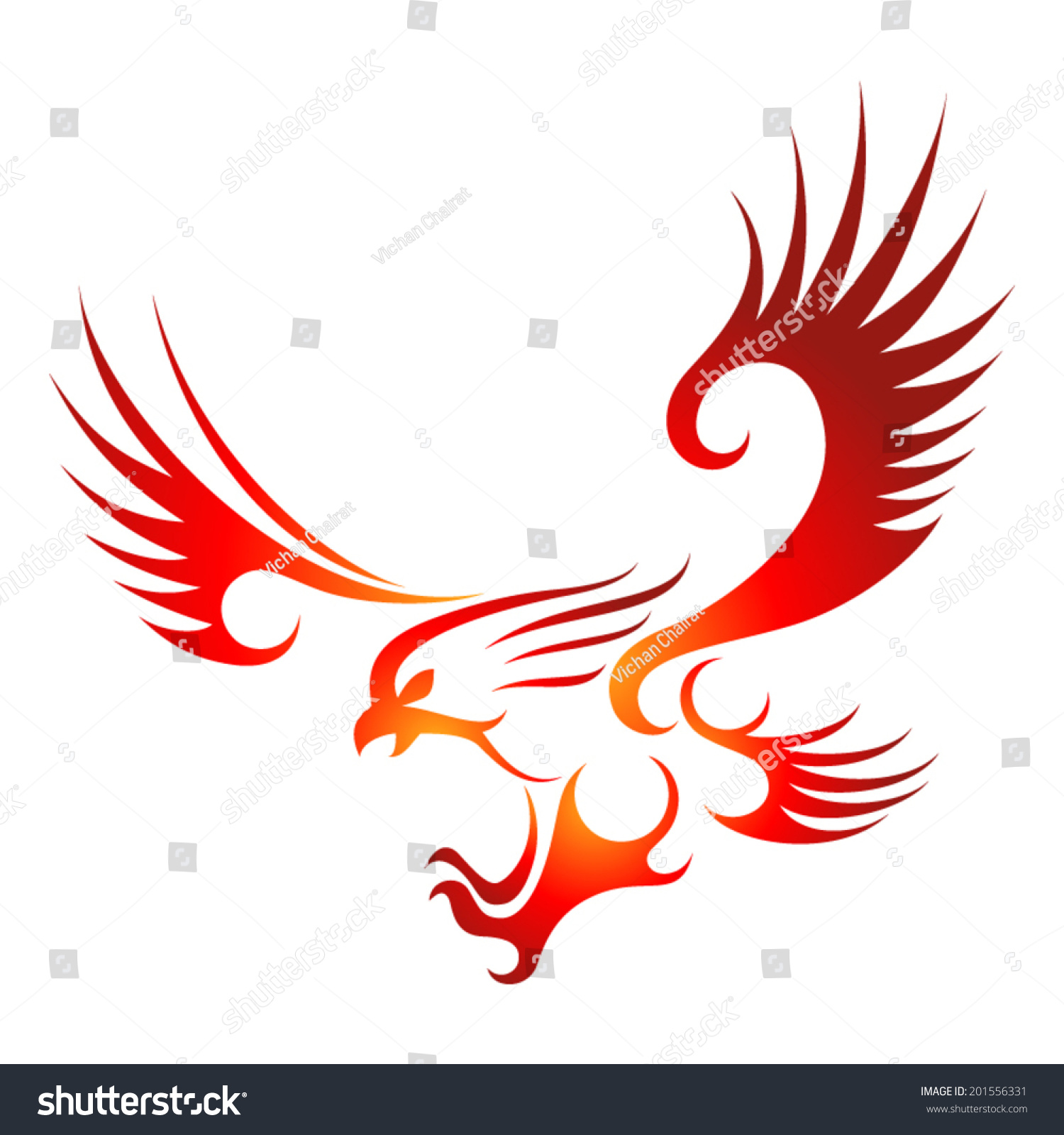 Flying Fire Eagle. Stock Vector Illustration 201556331 ...