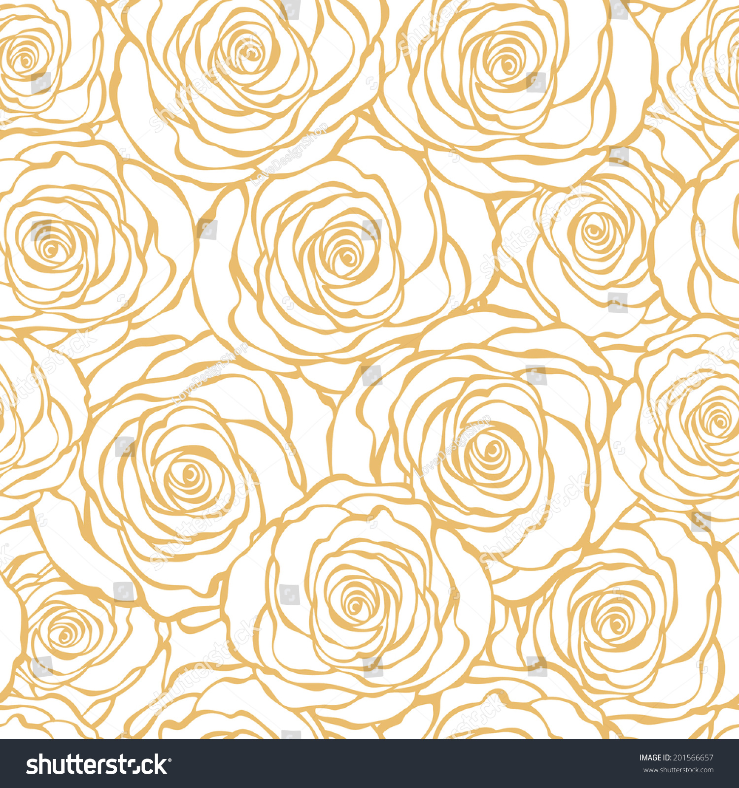 Golden Art Deco Floral Seamless Pattern Stock Vector Royalty Free