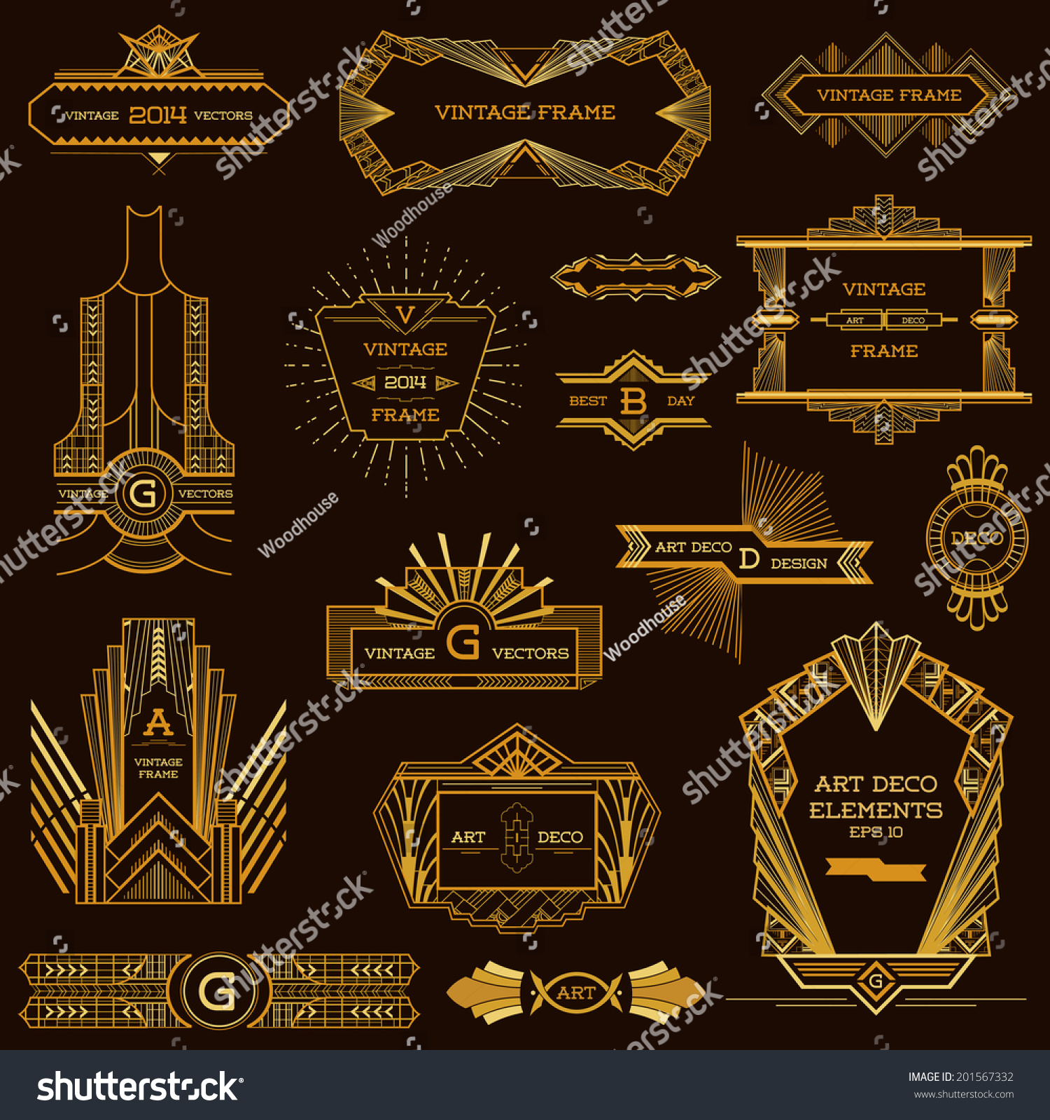 art deco vintage frames and design elements in vector