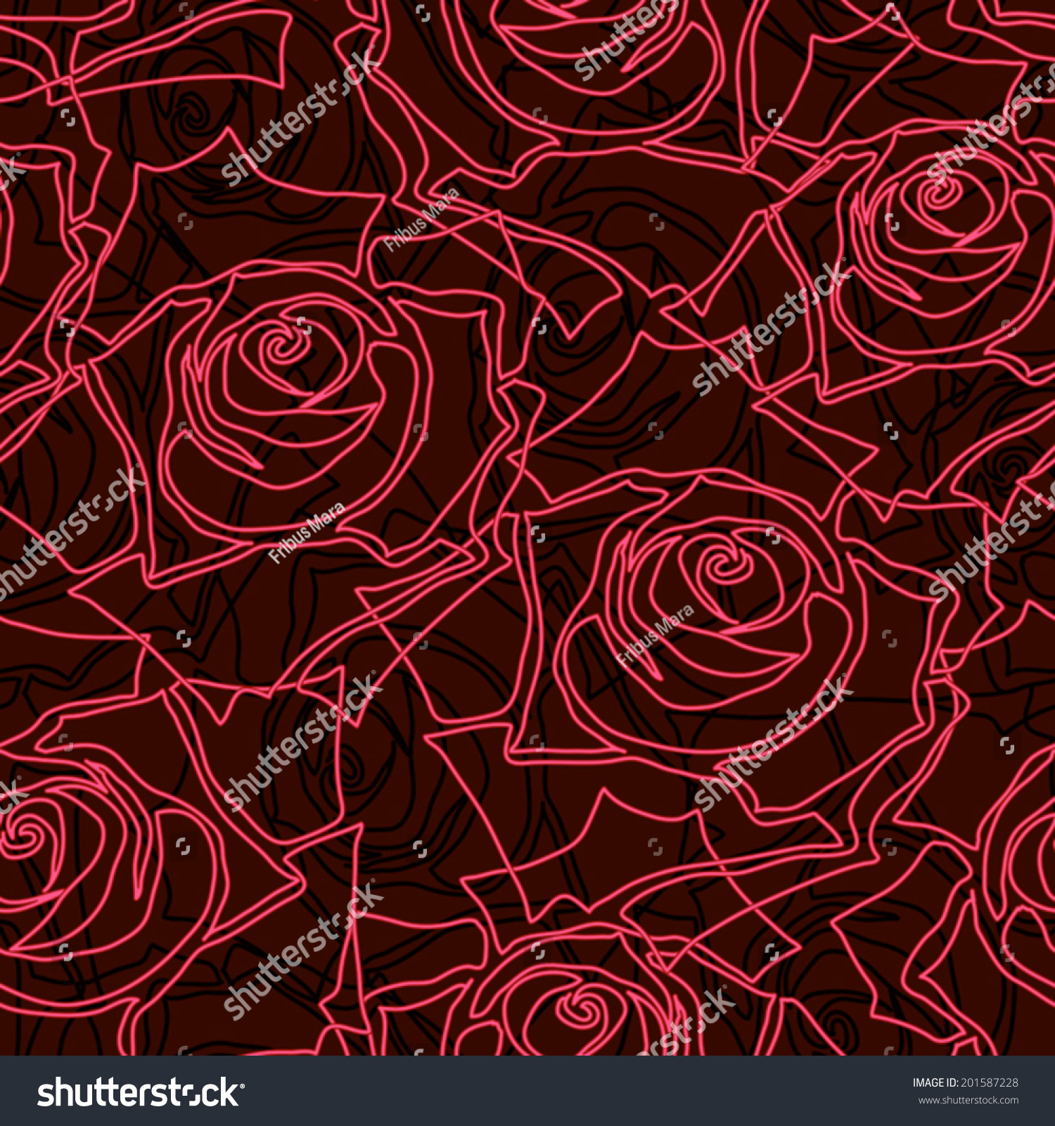 Dark Bloody Red Roses Seamless Pattern Stock Vector Royalty Free