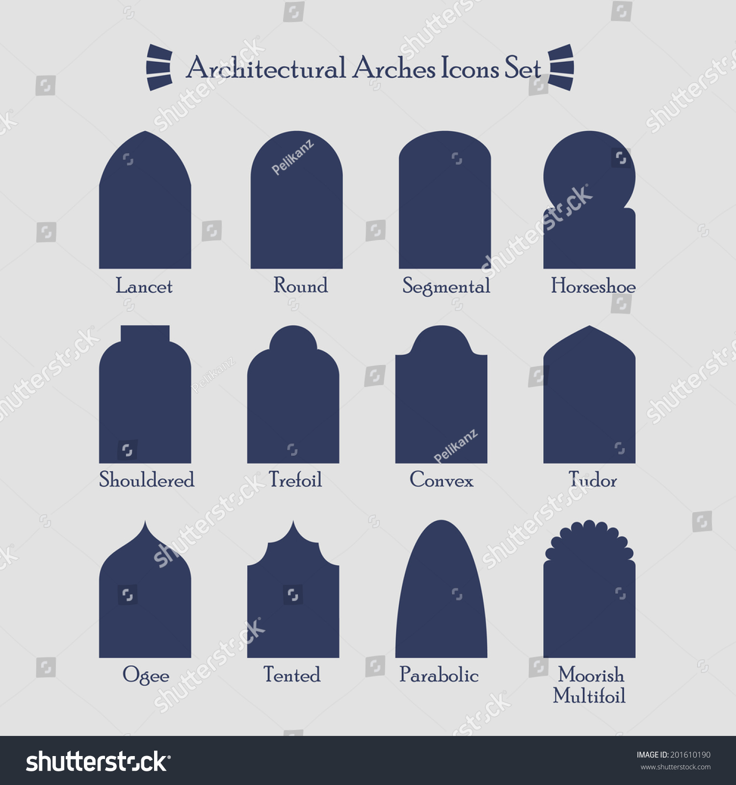 Set of common types of architectural arches silhouette for Types of architecture design