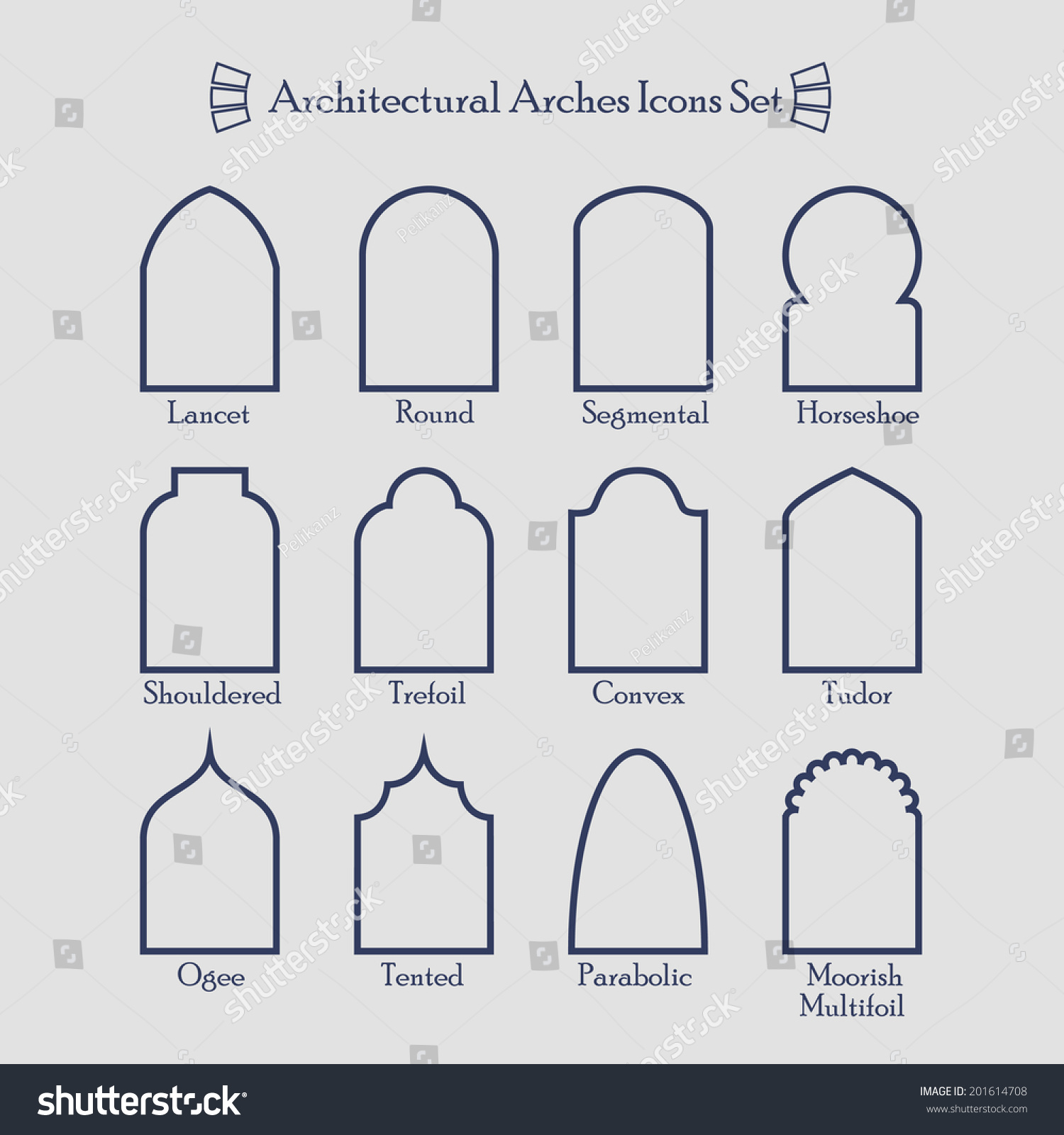 set common types architectural arches frame stock vector royalty