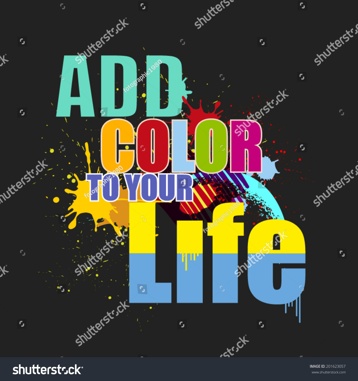 Color Your Life Quotes Inspiration Quote Background Design Add Color Stock Vector