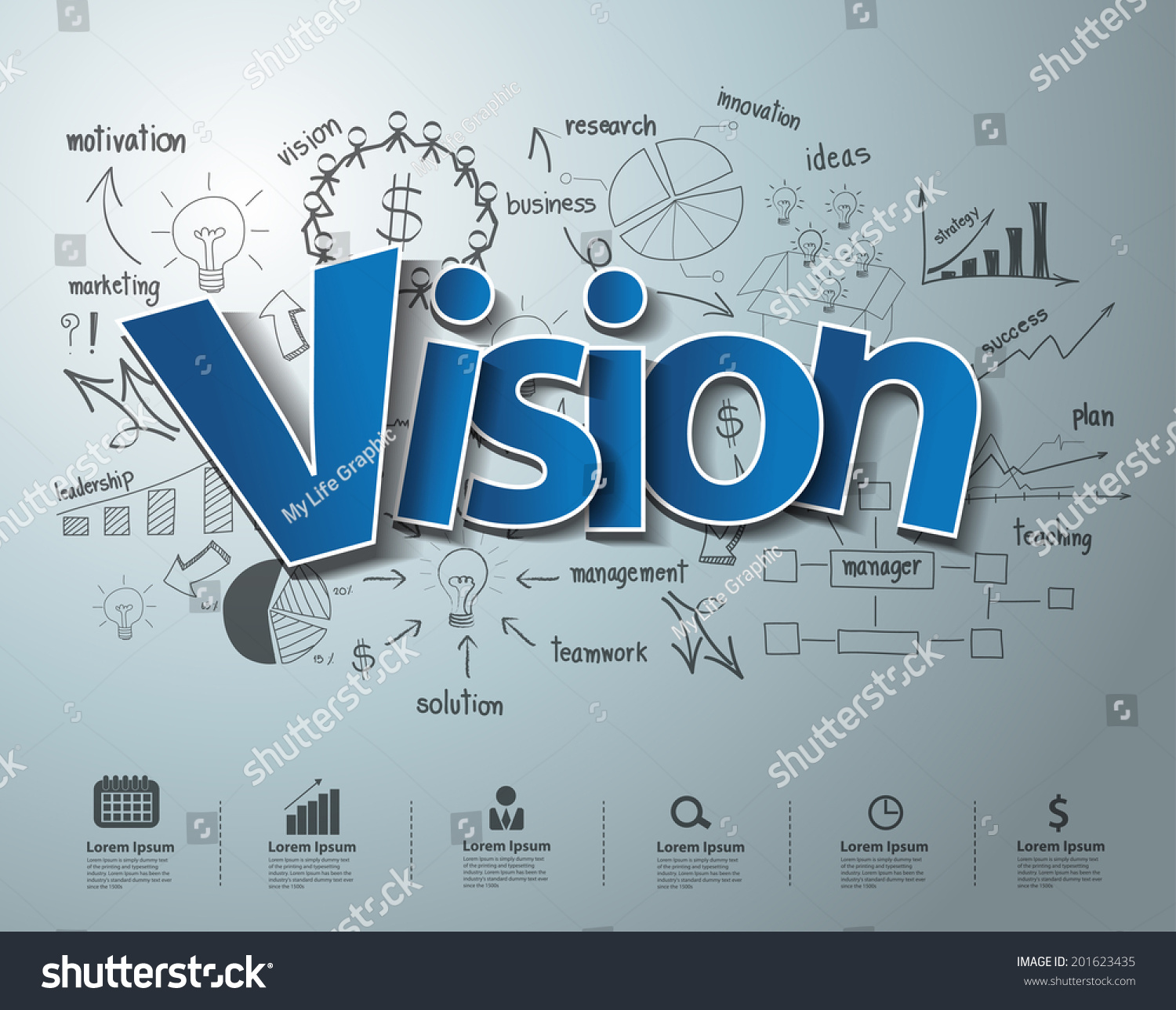 Royalty-free Vision text, With creative drawing… #201623435 Stock ...