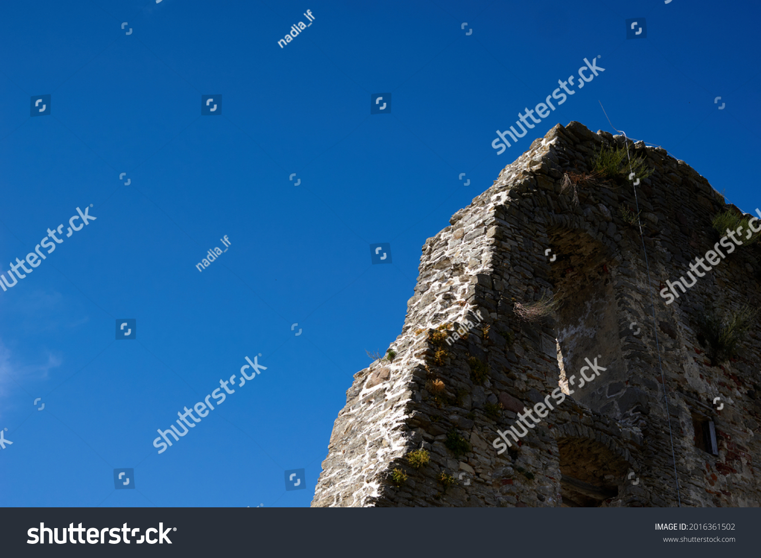 Stone wall and Sky Texture. High quality photo #2016361502