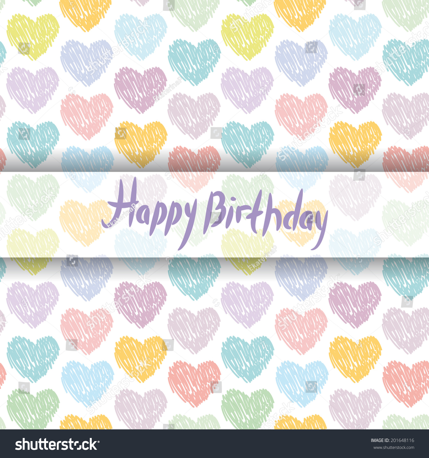 Vector bunting flags lovely celebration card with colorful paper - Happy Birthday Card Pattern With Sketch Hearts On A White Background Pastel Color