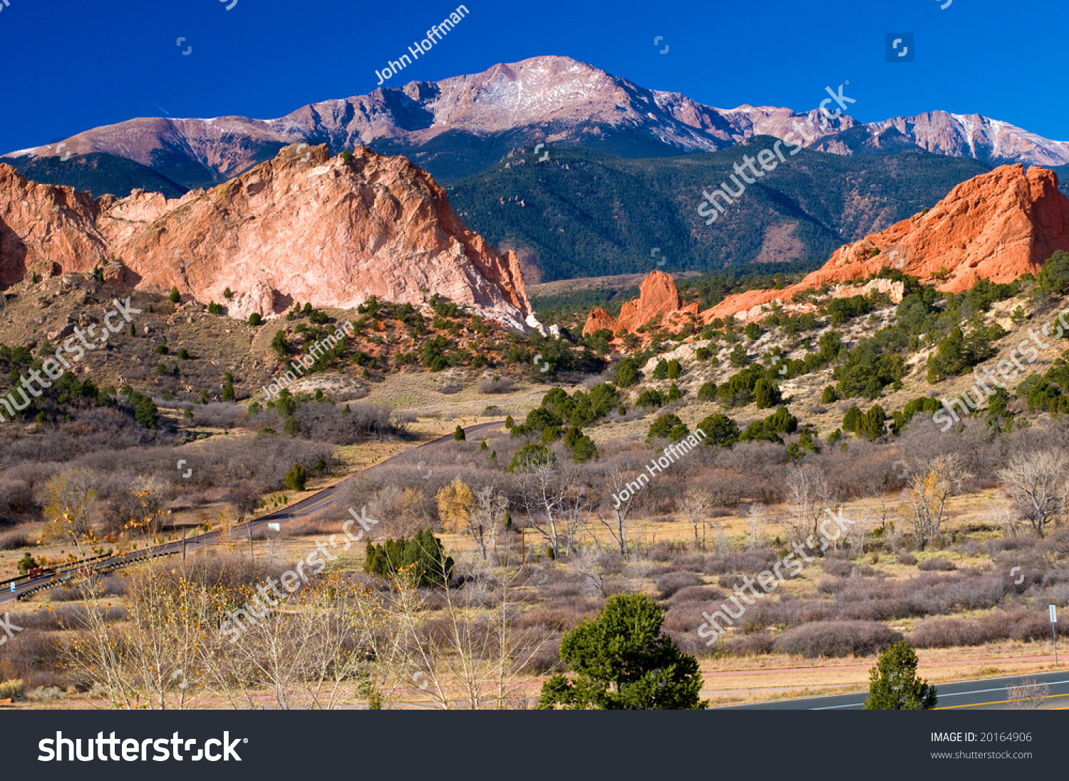 Colorful Garden Of The Gods Park Near Colorado Springs Colorado With Snow Dusted Pikes Peak