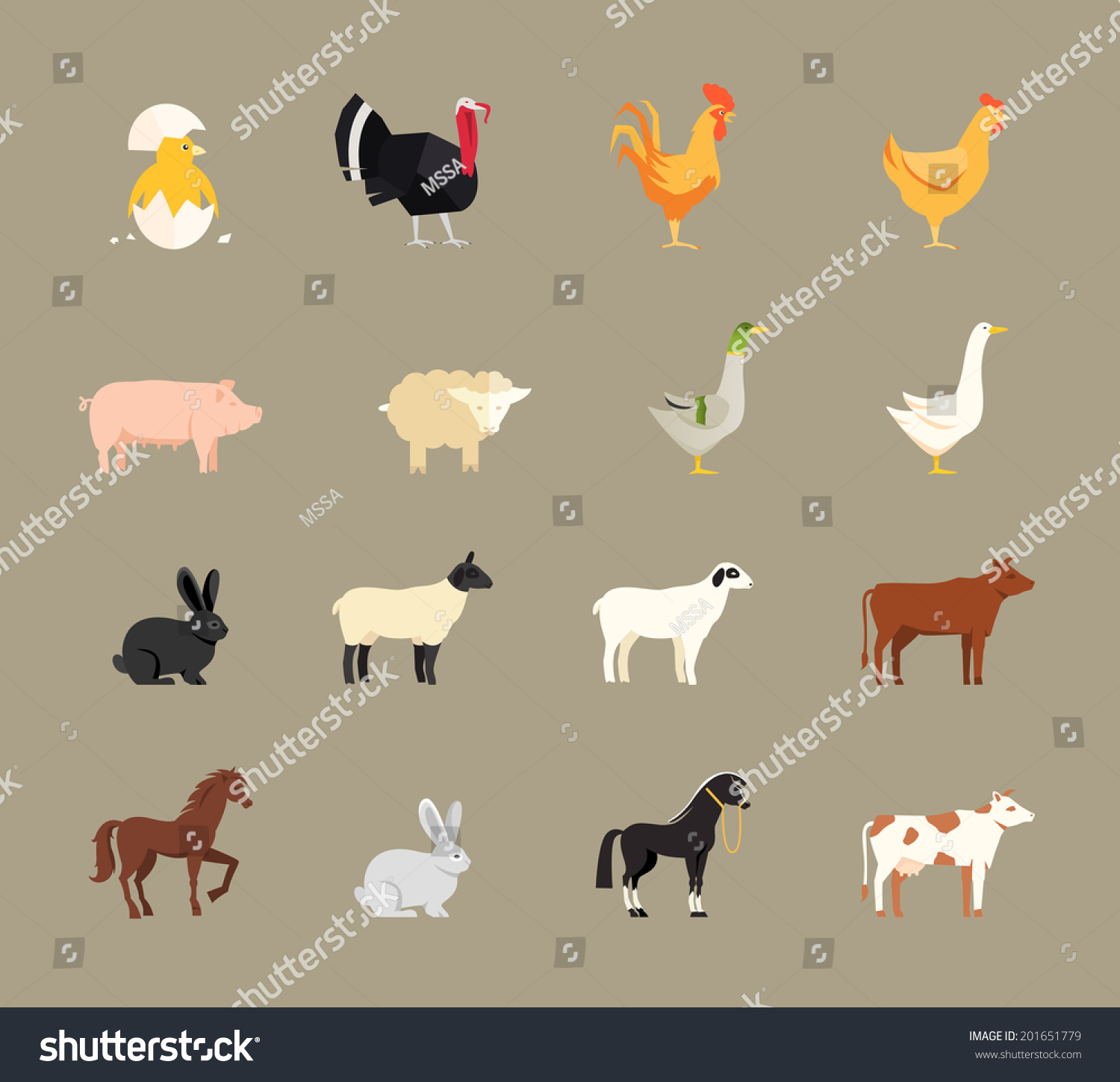 Agri cultures project logo duckdog design - Farm Animals Set In Flat Vector Style With A Chicken Turkey Hen Cock Pig Sheep Goose