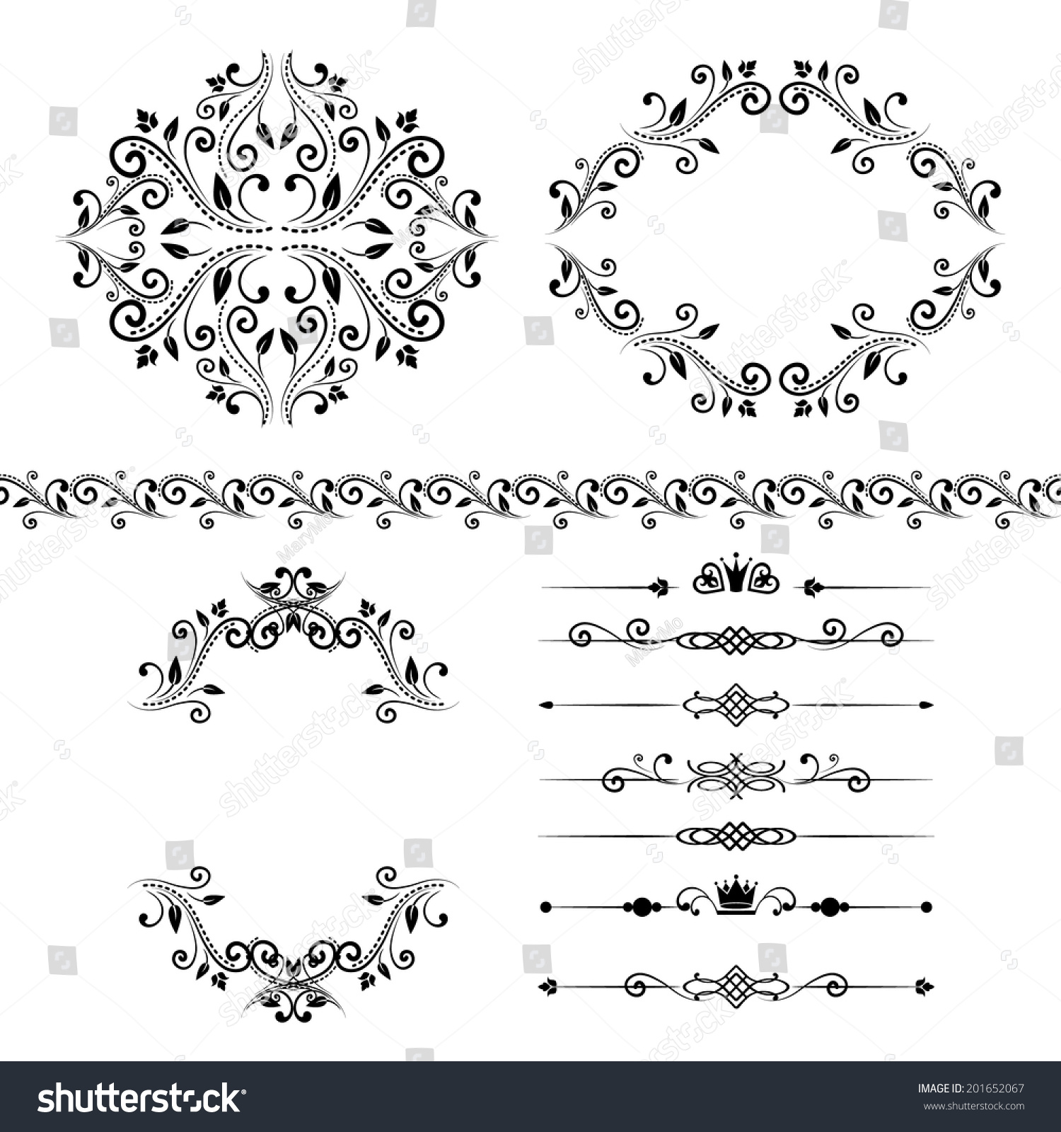 Floral Design Elements Set Ornamental Vintage Border