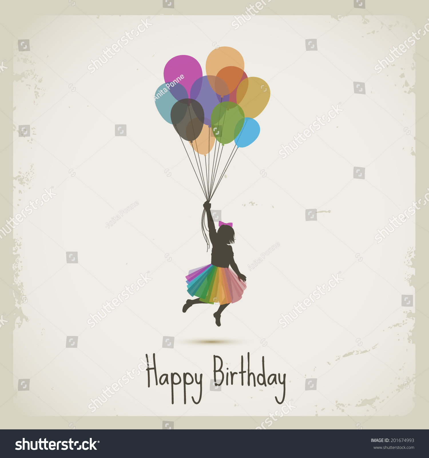 Girl Flying With Balloons Happy Birthday Eps10 Vector
