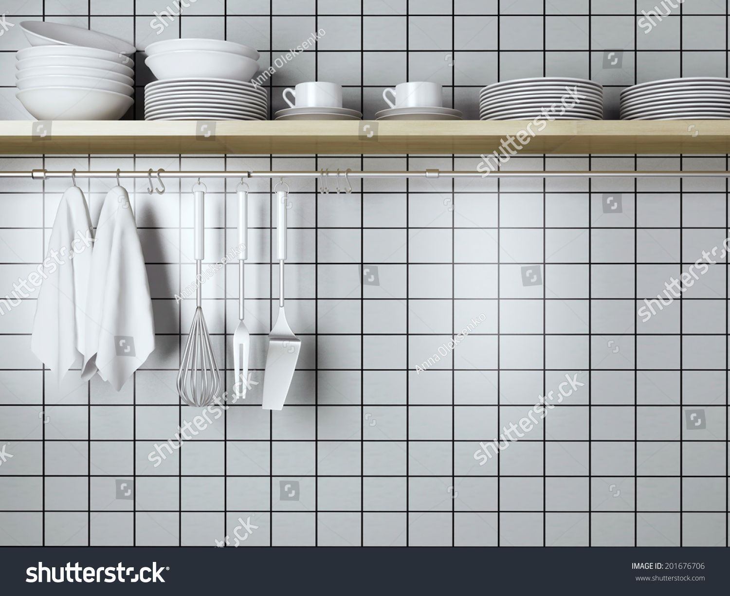 Steel Shelf For Kitchen White Plates On Wooden Shelf Kitchen Stock Illustration 201676706
