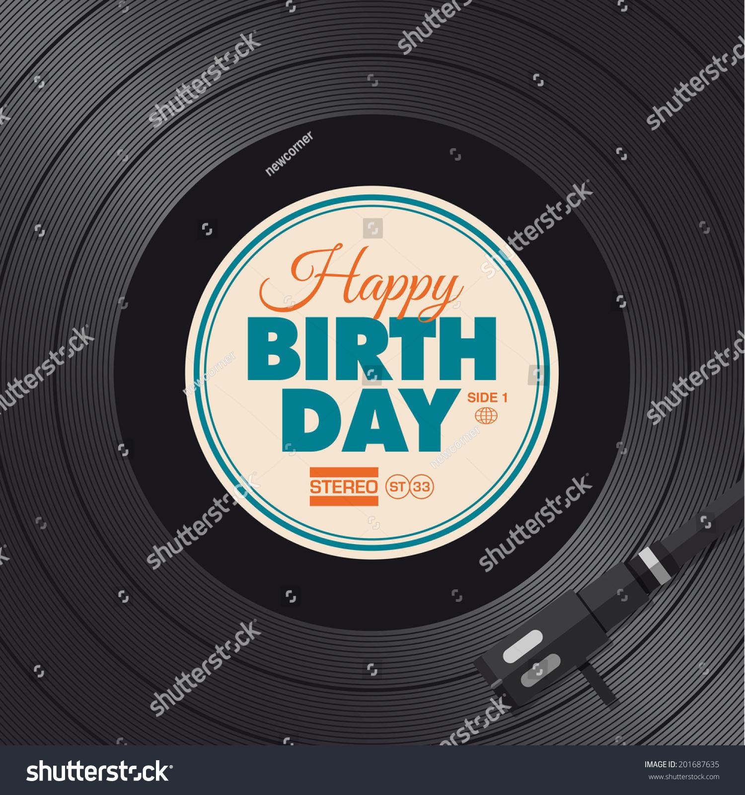 Happy Birthday Card Vinyl Illustration Background Stock