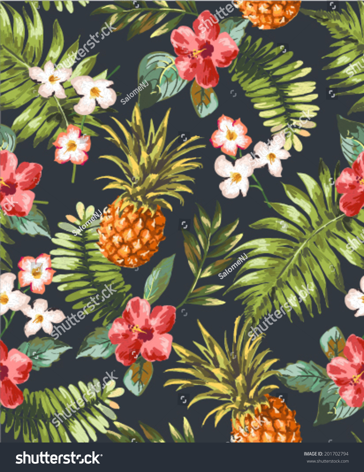 Vintage Seamless Tropical Flowers Pineapple Vector Stock ...
