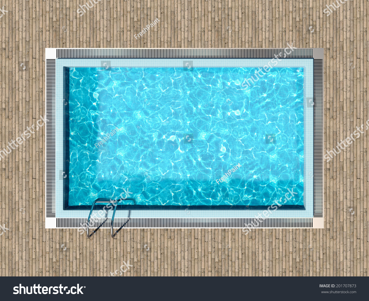 Swimming Pool Wooden Deck Top View Stock Illustration