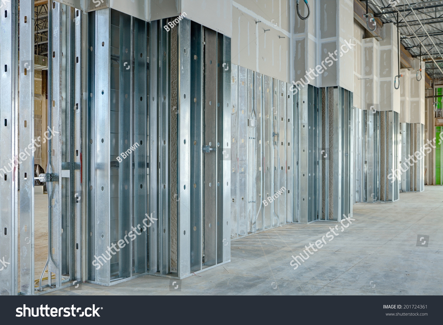 Commercial Drywall Thickness : Steel studs used to frame in a large commercial building