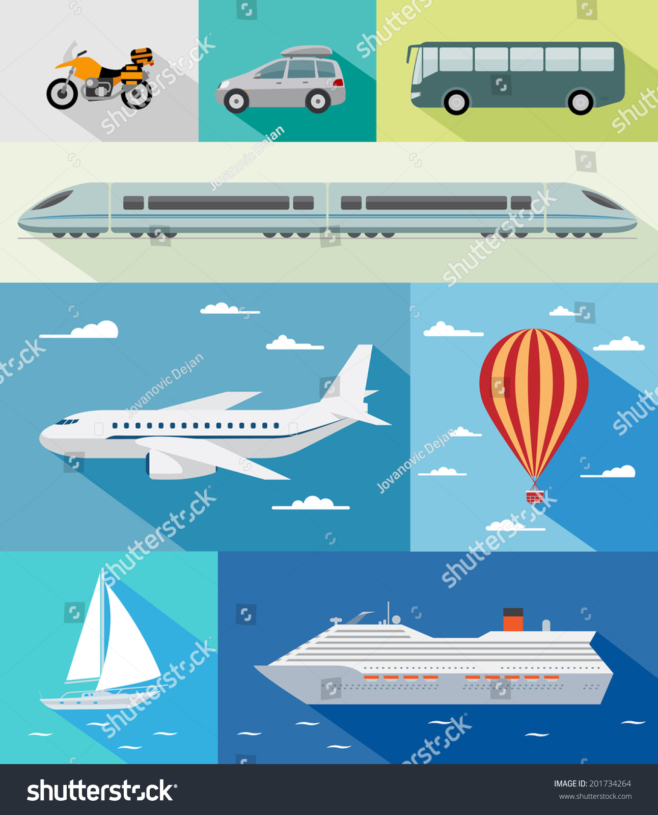 Various Types Transport Car Bus Train Stock Vector 201734264 ...