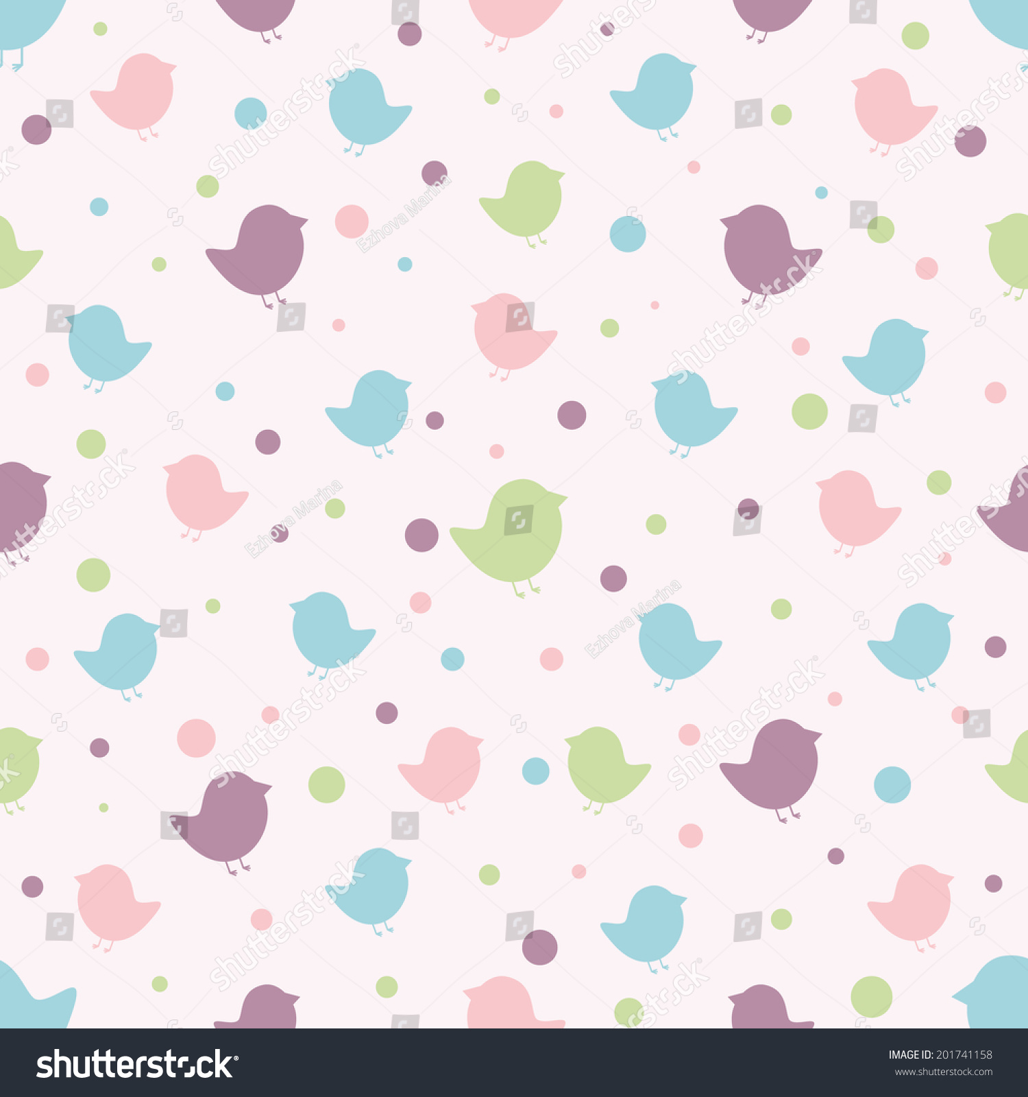 Scrapbook paper clouds - Seamless Pattern Baby Background With Silhouettes Birds And Circles Paper For Scrapbook Or Background